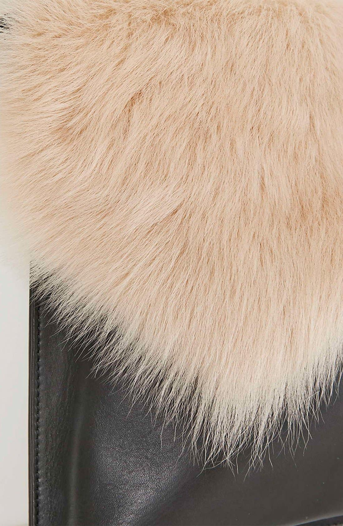Alternate Image 5  - Topshop Genuine Shearling & Leather Clutch