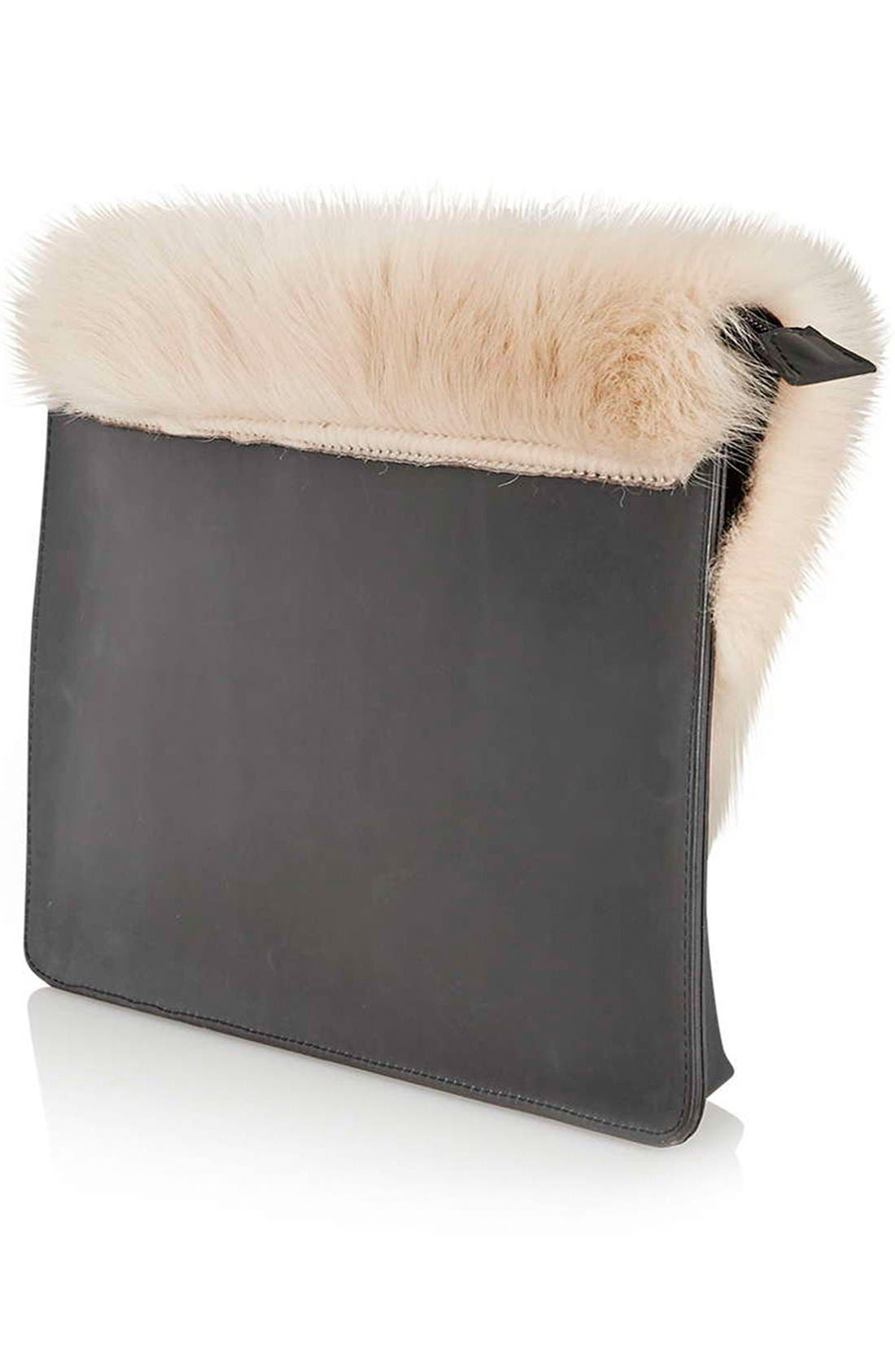Alternate Image 3  - Topshop Genuine Shearling & Leather Clutch
