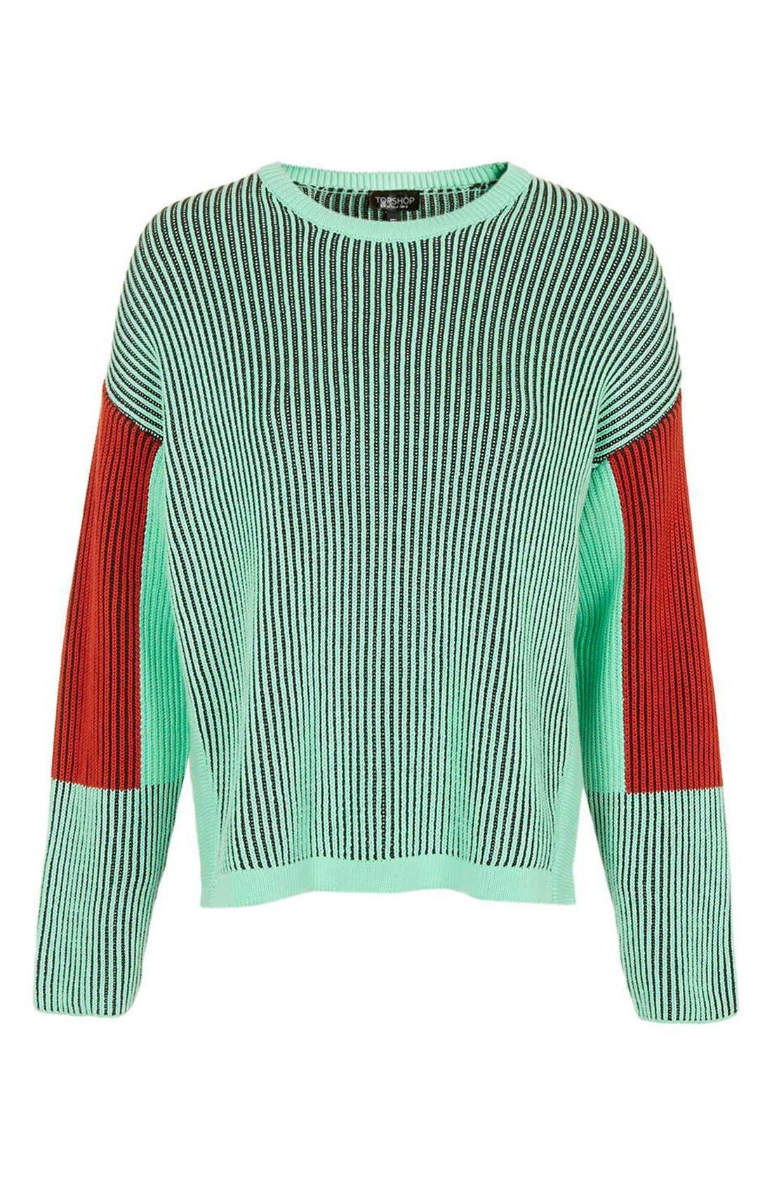 Alternate Image 4  - Topshop Colorblock Crewneck Sweater