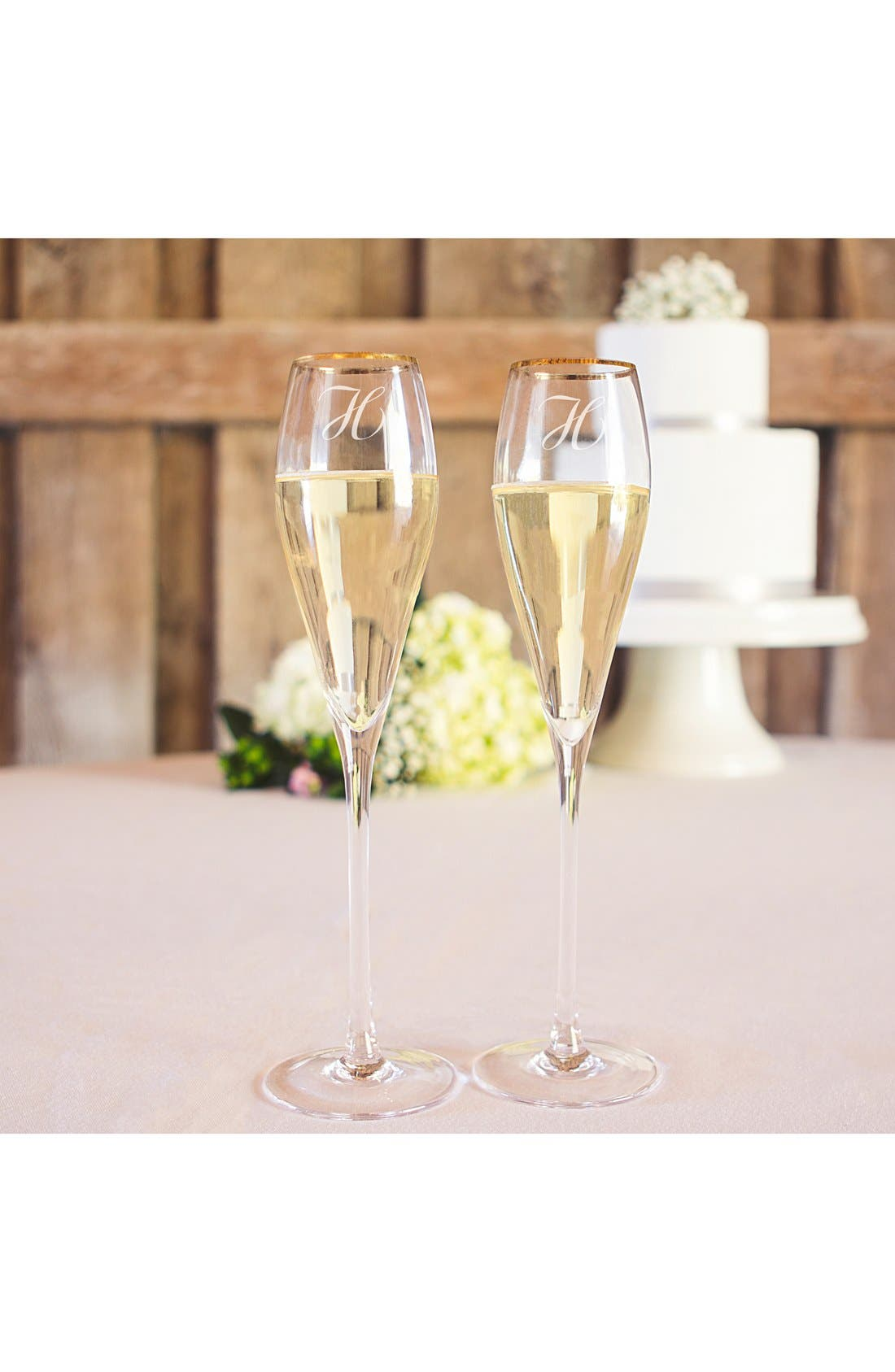 CATHY'S CONCEPTS Personalized Gold Rim Champagne Flutes