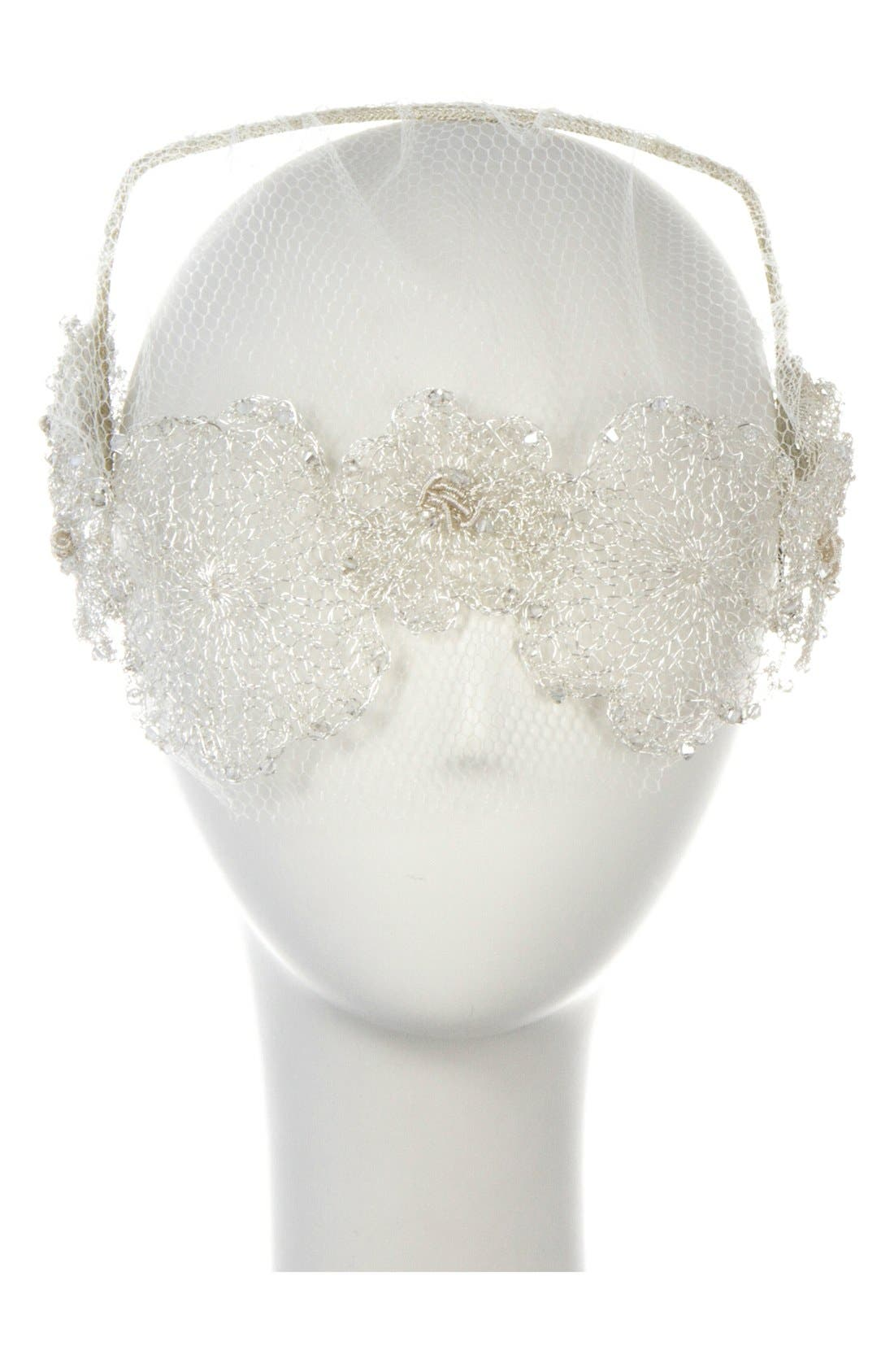 Main Image - Colette Malouf Headband with Floral Tulle Veil