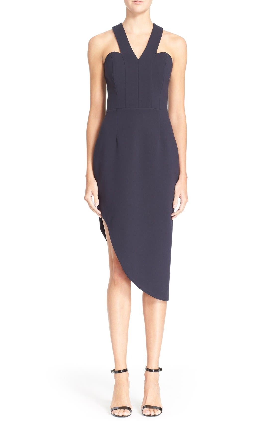 Main Image - N Nicholas 'Ponti Curve' Halter Dress with Asymmetrical Hem