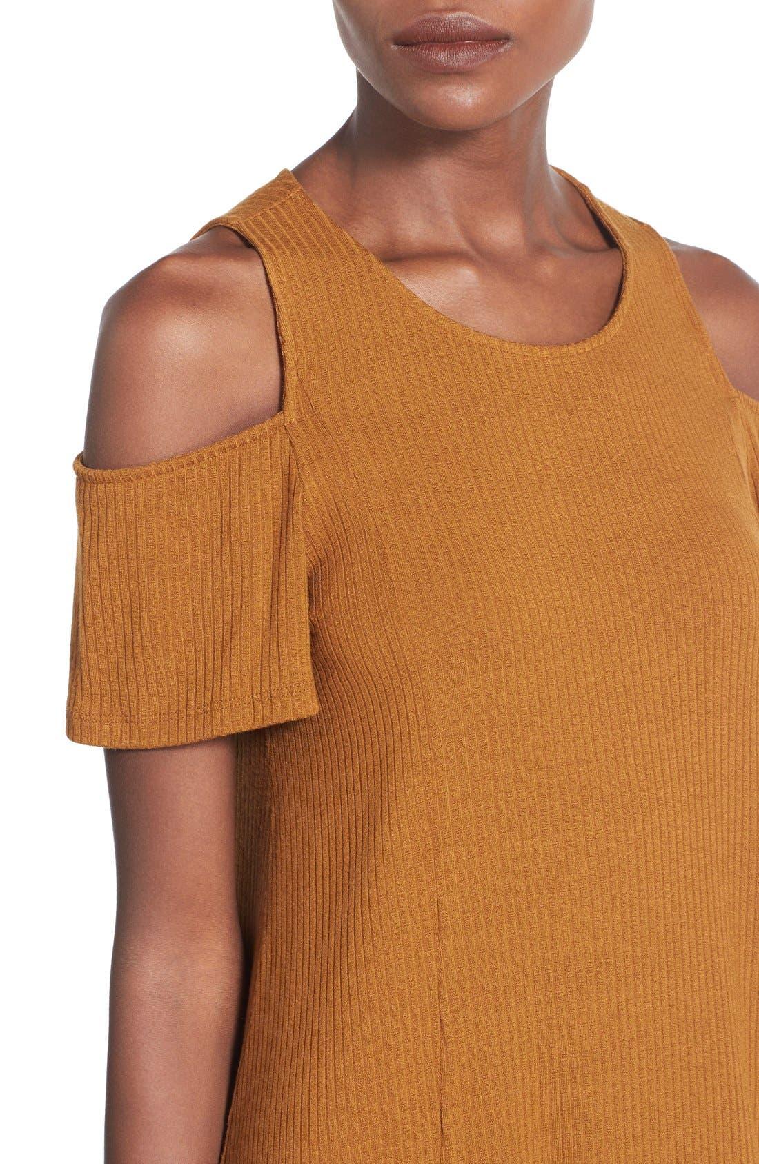 Alternate Image 4  - Lush Cold Shoulder Rib Knit Shift Dress