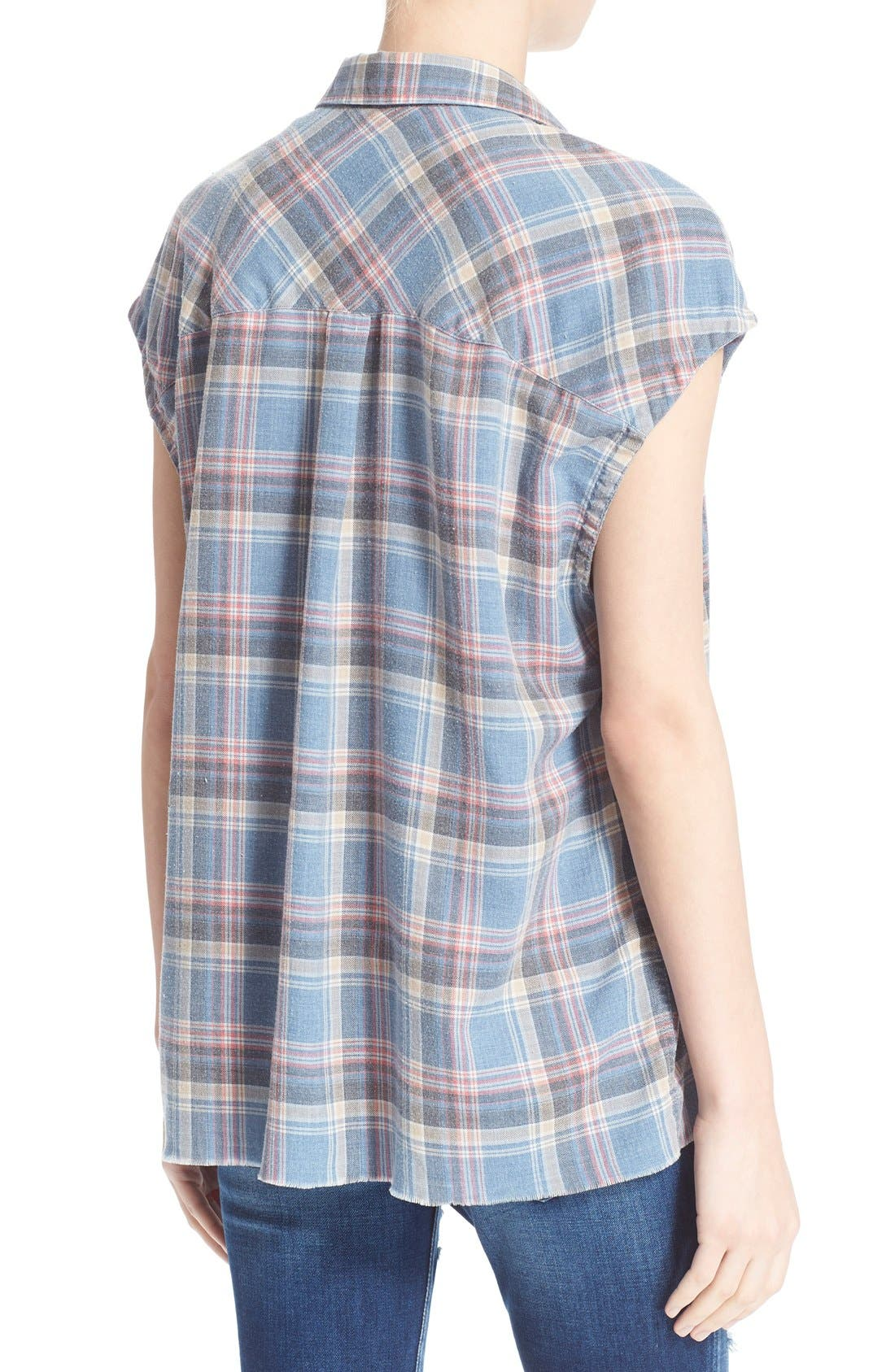 Alternate Image 2  - IRO 'Dally' Woven Plaid Cap Sleeve Shirt