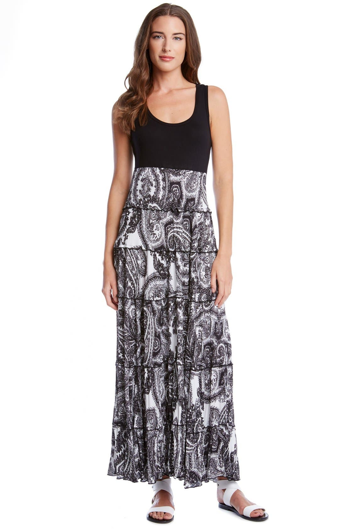Alternate Image 3  - Karen Kane Paisley Print Mixed Media Tiered Maxi Dress