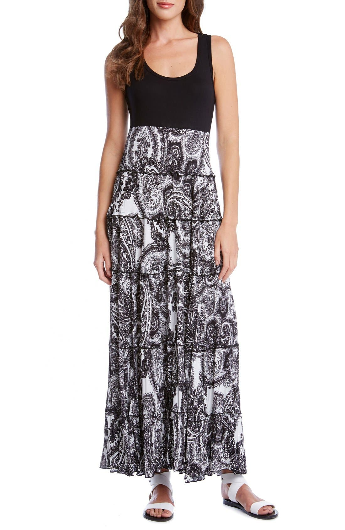 Alternate Image 1 Selected - Karen Kane Paisley Print Mixed Media Tiered Maxi Dress