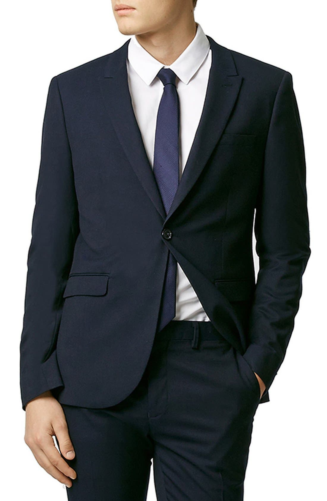 Topman Skinny Fit Navy Blue Suit Jacket