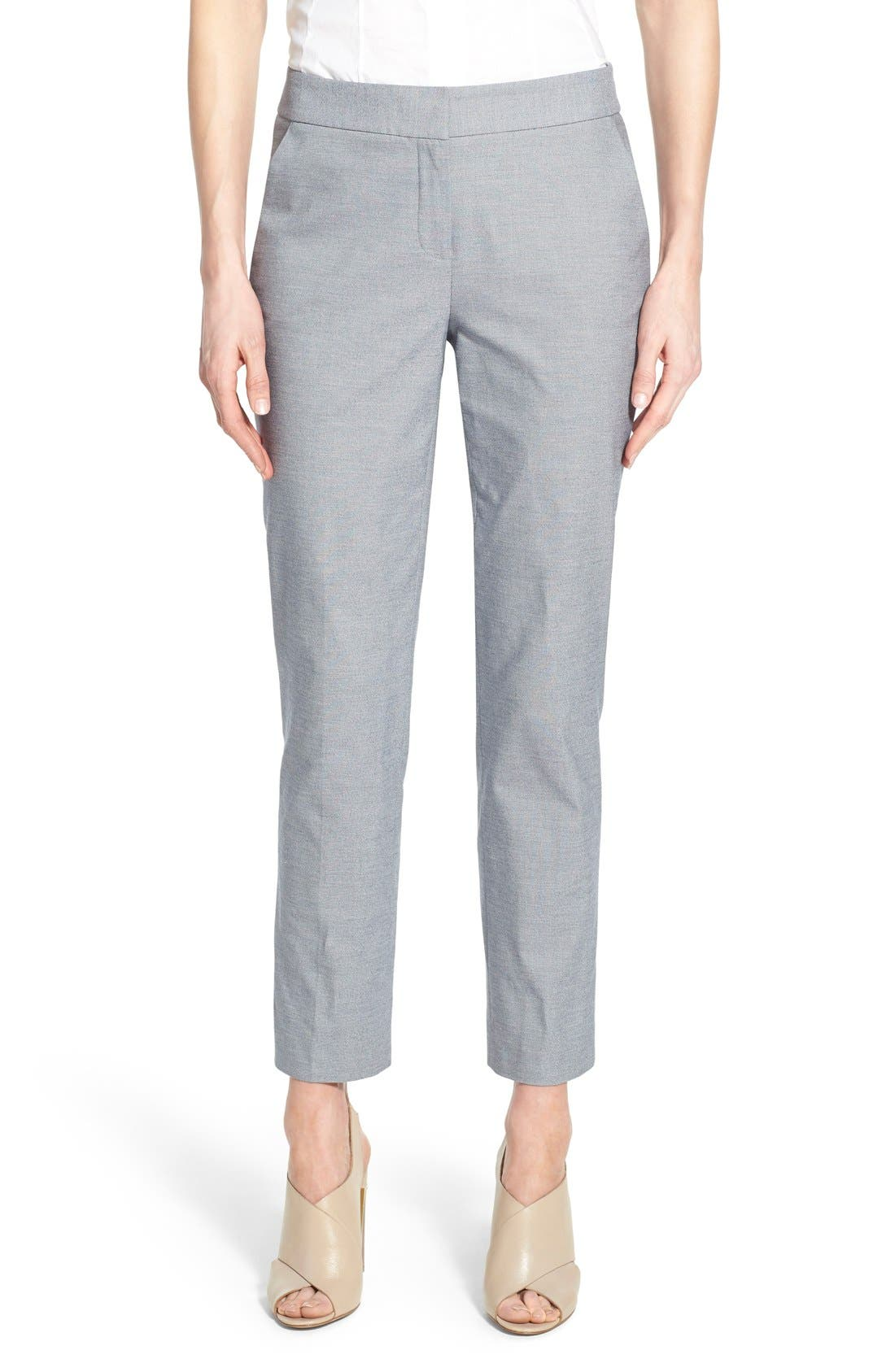 Alternate Image 1 Selected - Nordstrom Collection Stretch Cotton Slim Ankle Pants