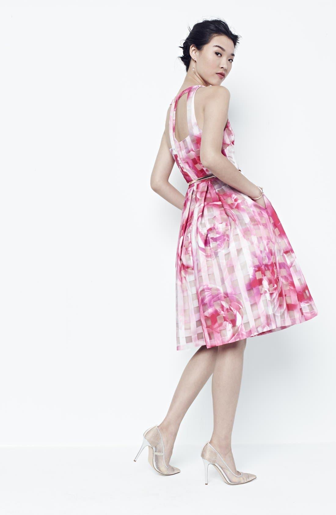 Alternate Image 8  - Eliza J Floral Organza Fit & Flare Dress (Regular & Petite)