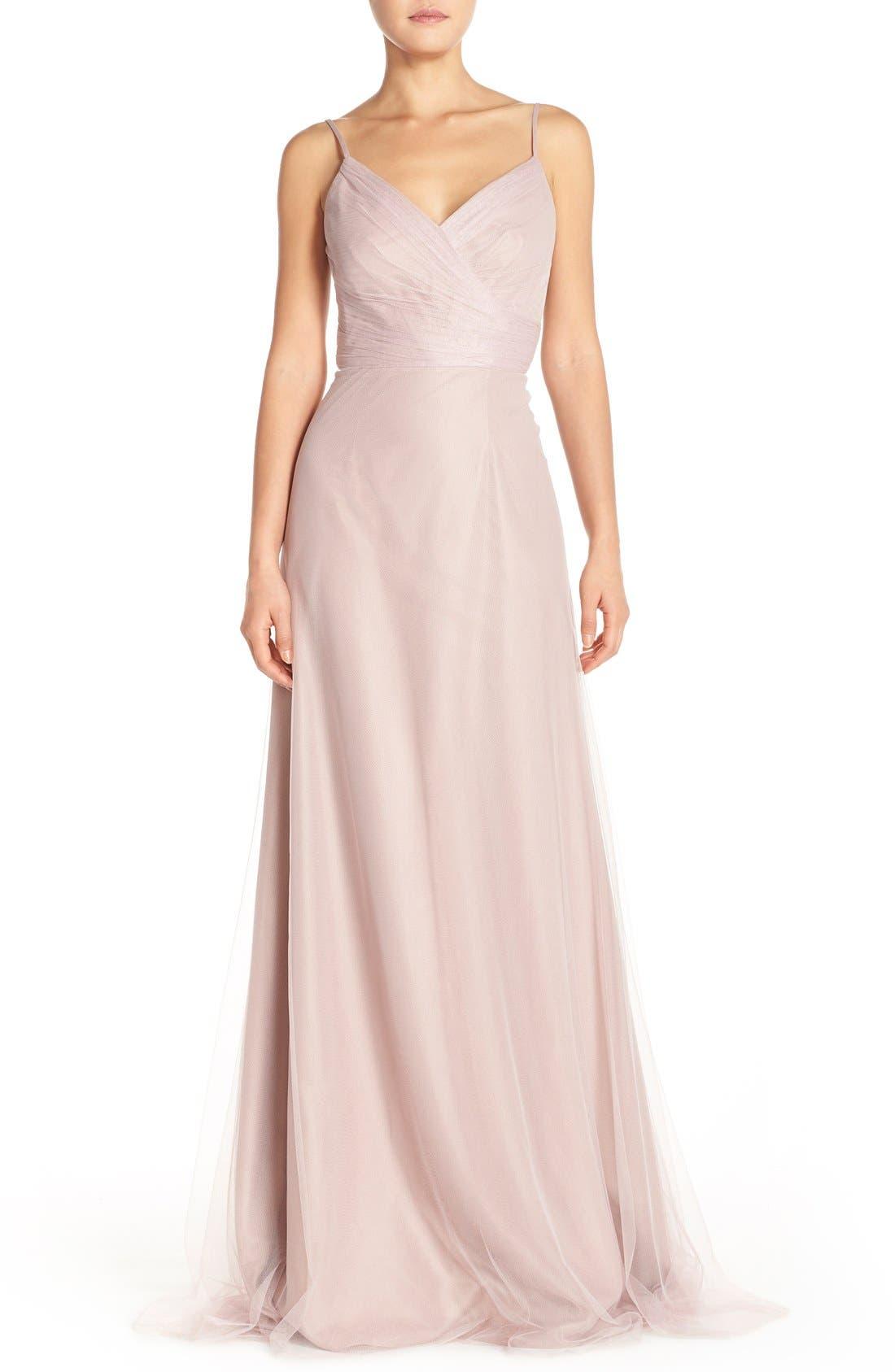 Main Image - Monique Lhuillier Bridesmaids Surplice Tulle Gown