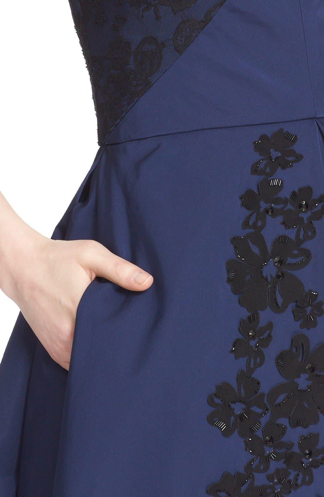 Alternate Image 5  - Oscar de la Renta Floral Embellished Strapless Fit & Flare Dress