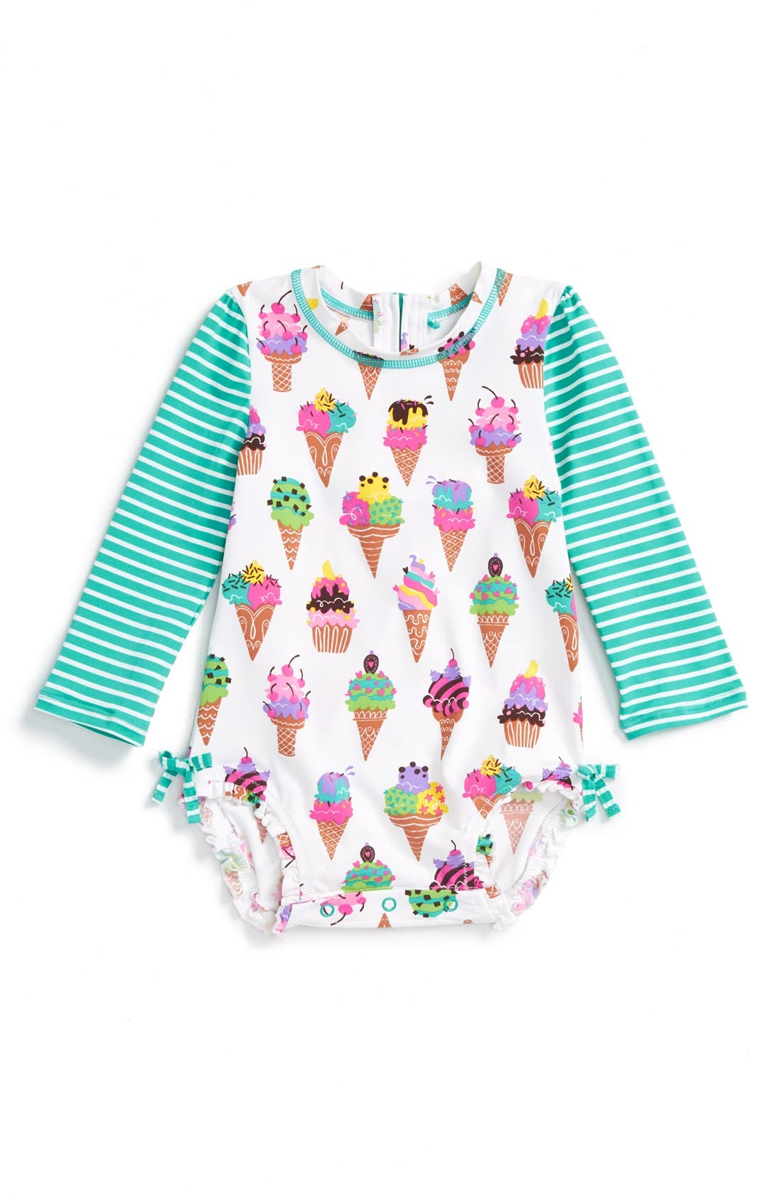 Baby girl UV sun protection swimwear, rash guard sets, sunsuits, sun hats, swimsuits, beach rompers, bathing suits, and other adorable UPF 50+ beachwear items.