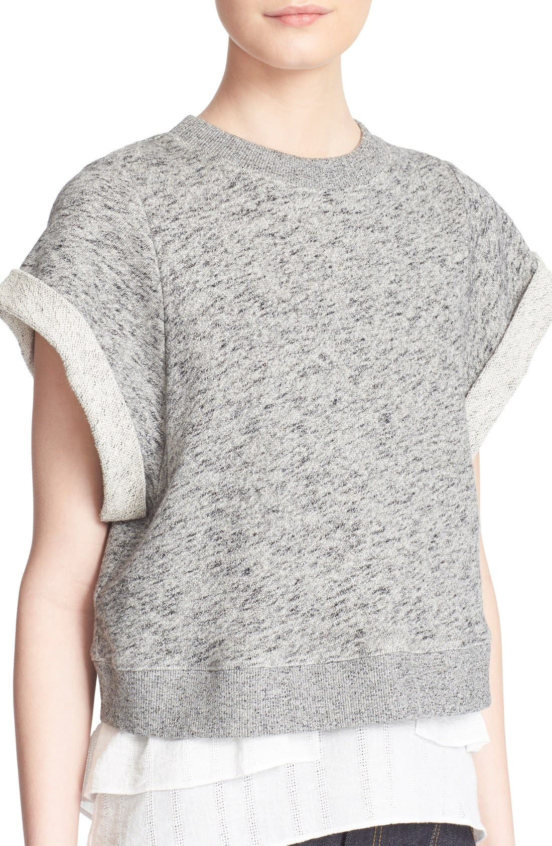 Alternate Image 4  - Derek Lam 10 Crosby 2-in-1 Ruffle Hem Sweatshirt