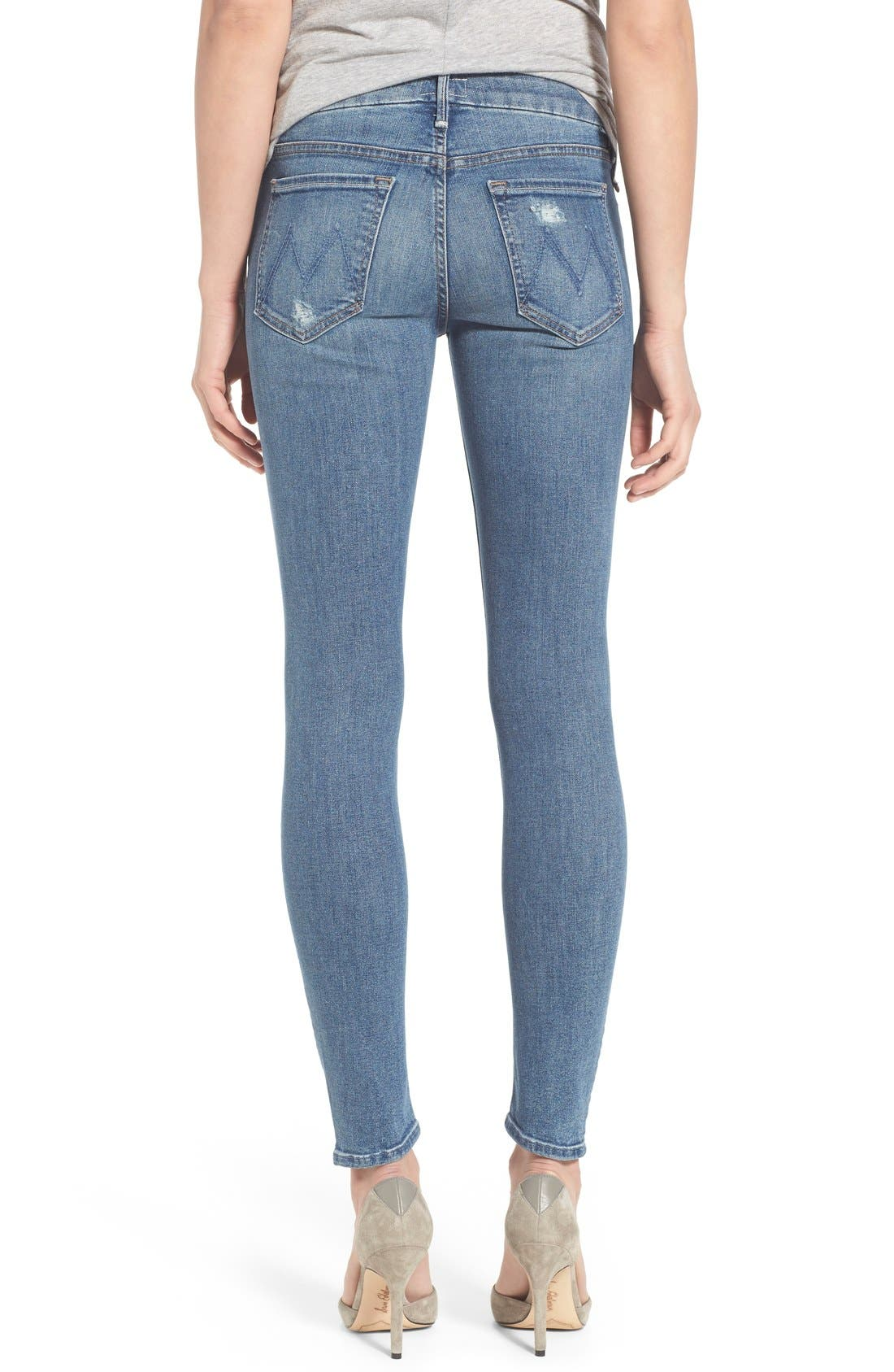 Alternate Image 2  - MOTHER 'The Looker' Distressed Skinny Jeans (Cowboy)