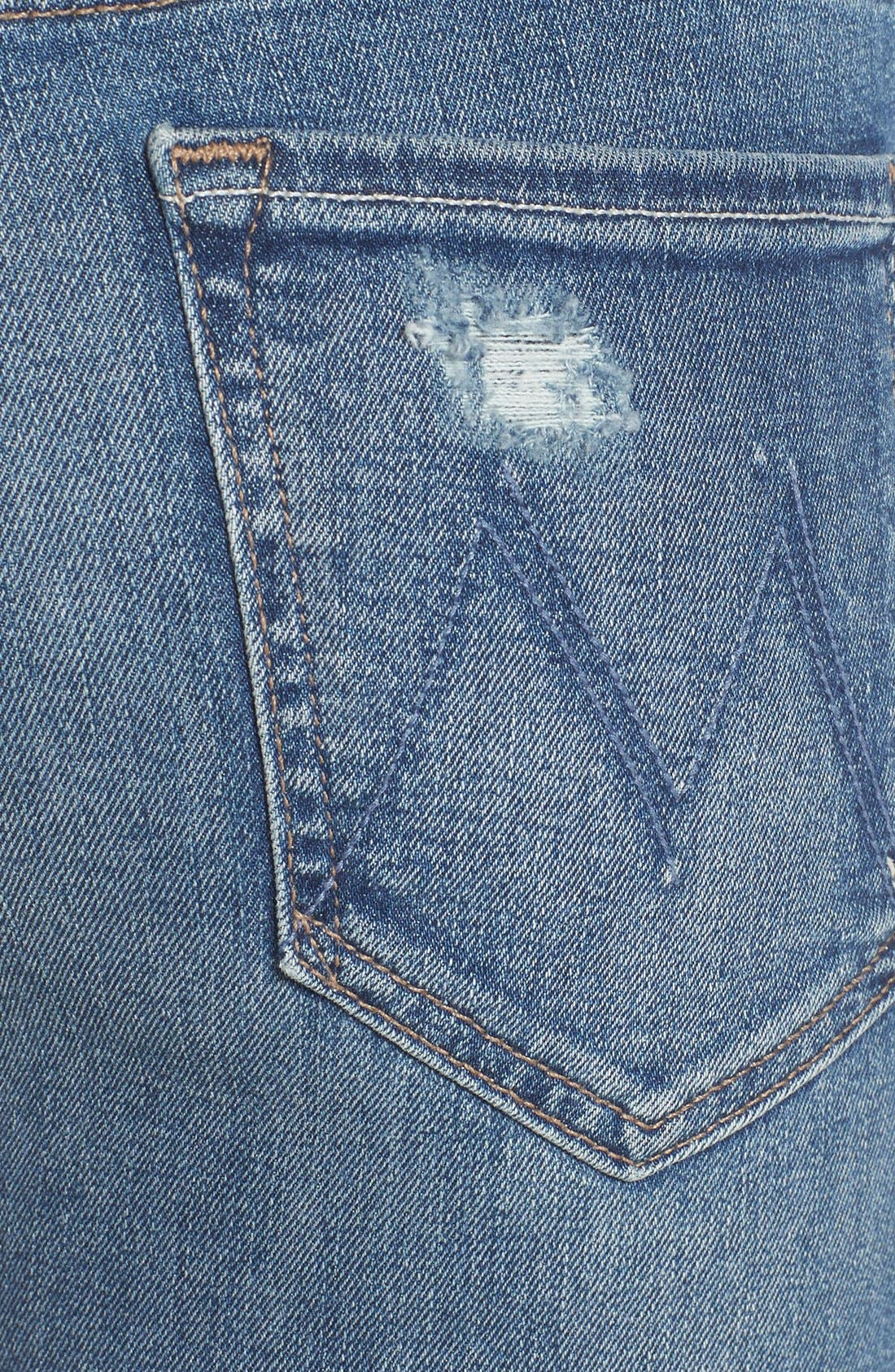 Alternate Image 4  - MOTHER 'The Looker' Distressed Skinny Jeans (Cowboy)