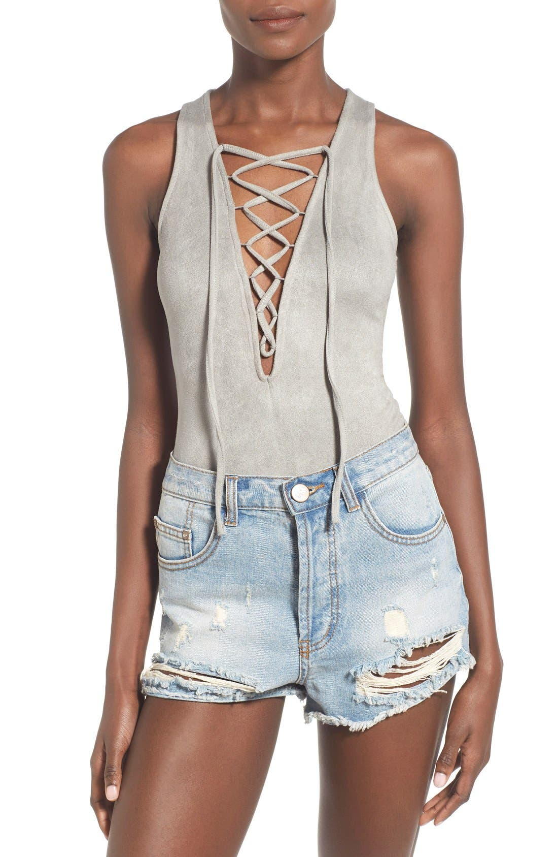 Alternate Image 1 Selected - Glamorous Lace-Up Faux Suede Bodysuit