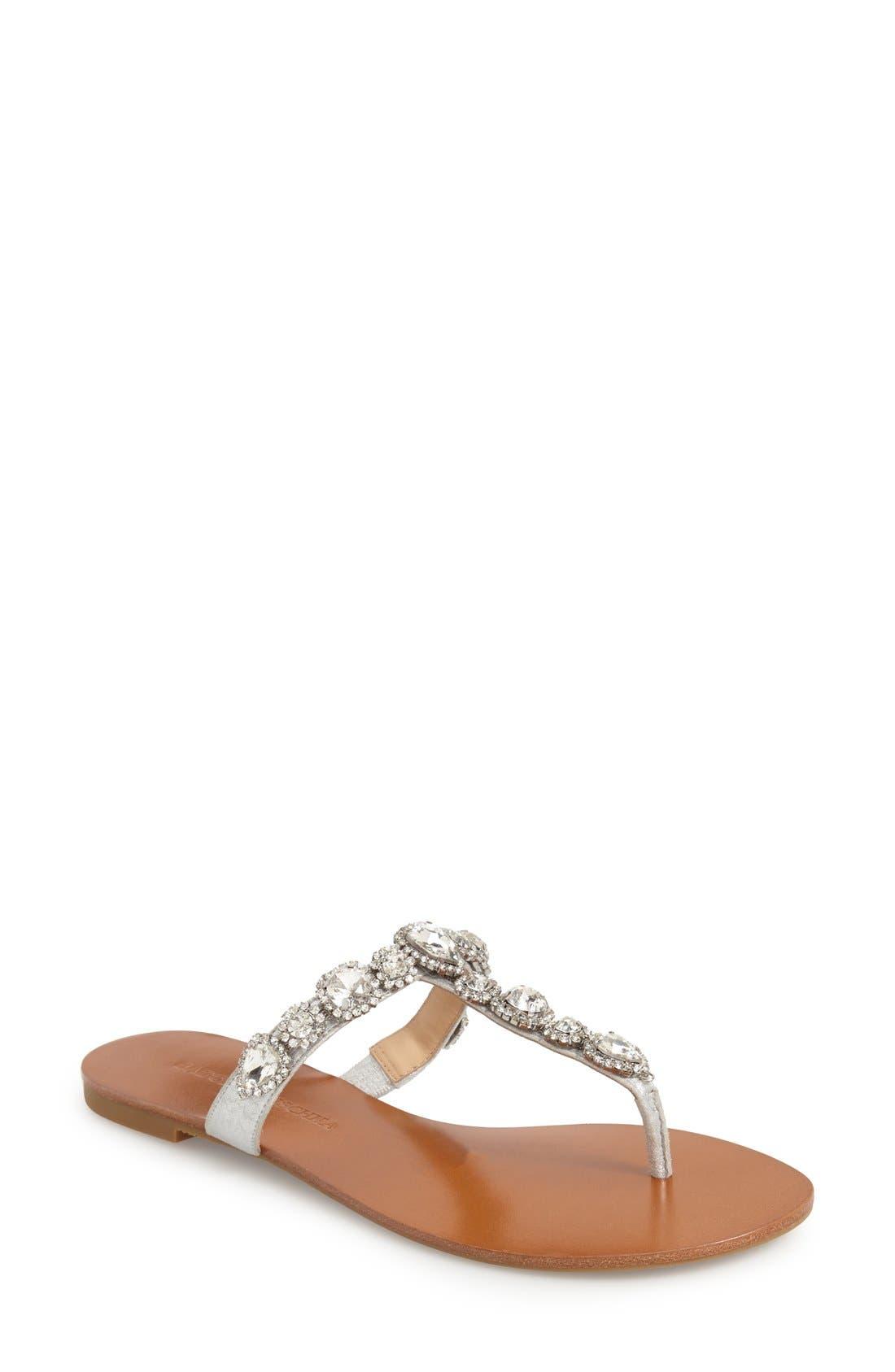 Main Image - Badgley Mischka 'Cliche' Embellished Flat Sandal (Women)
