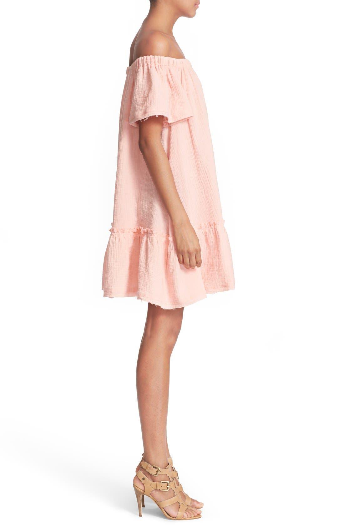 Alternate Image 3  - Rebecca Taylor Off the Shoulder Cotton Swing Dress