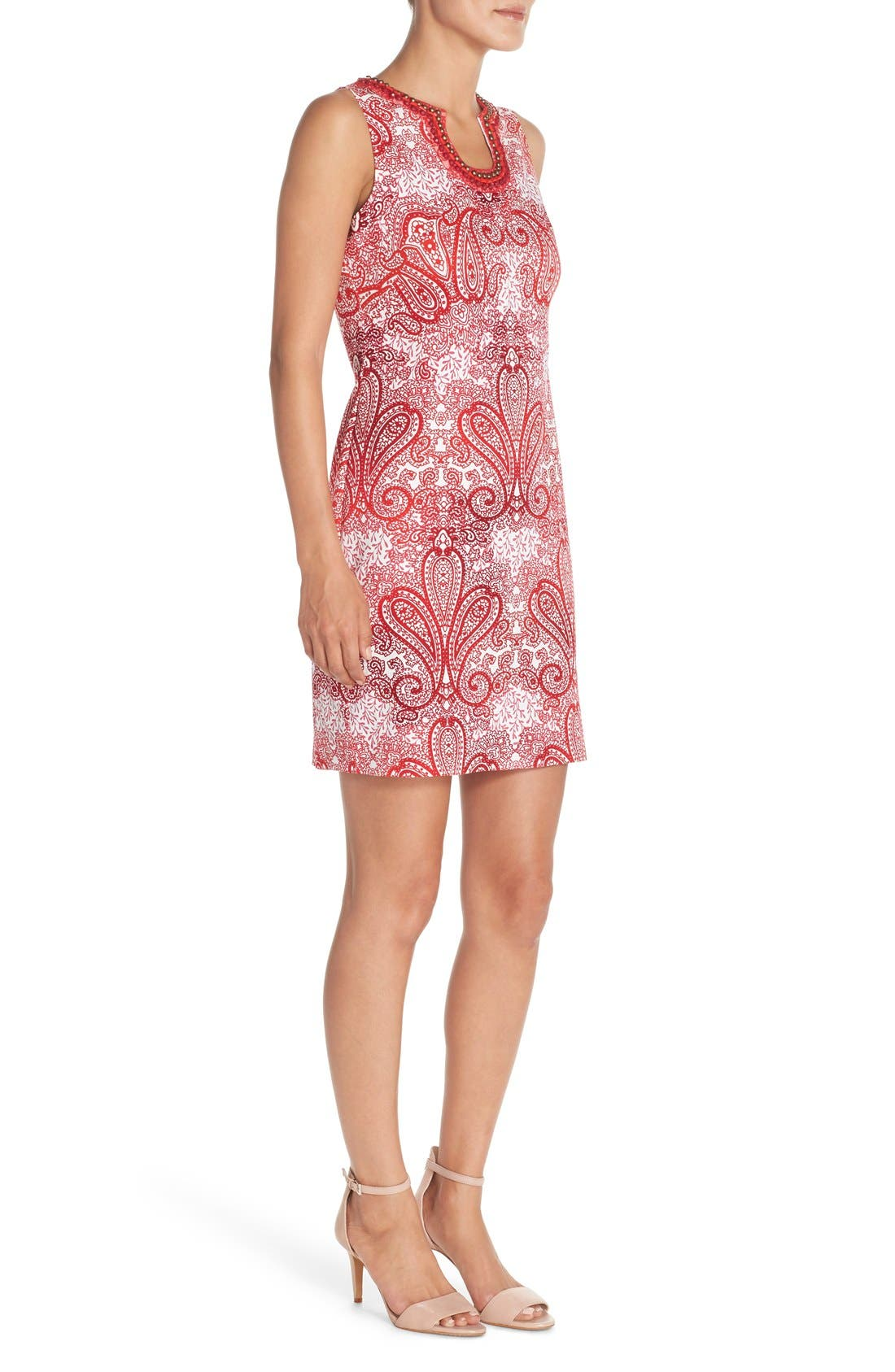 Alternate Image 3  - London Times 'Regal Ombré' Embellished Paisley Print Sleeveless Shift Dress