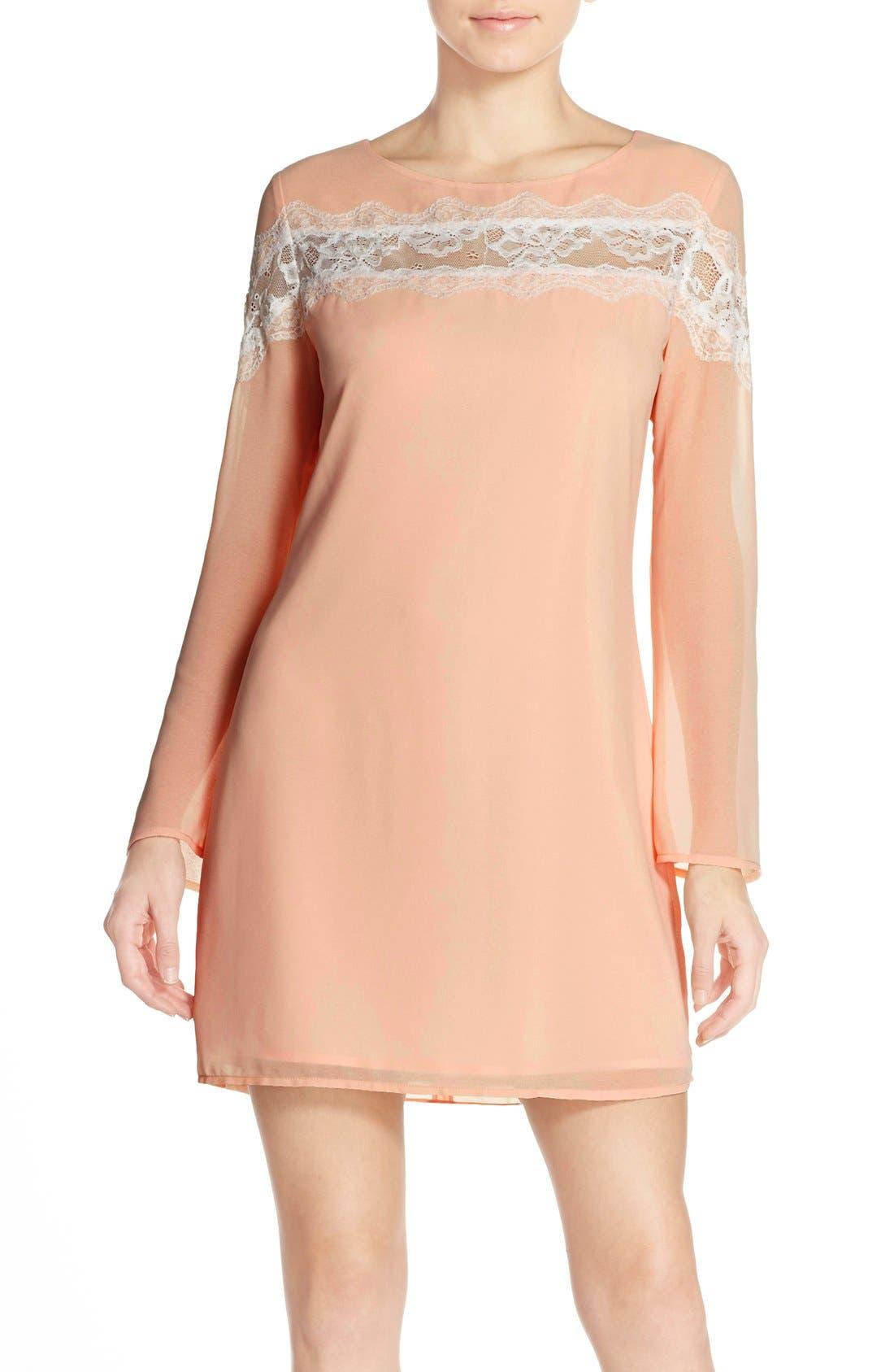 Main Image - Chelsea28 Lace Trim Chiffon Shift Dress