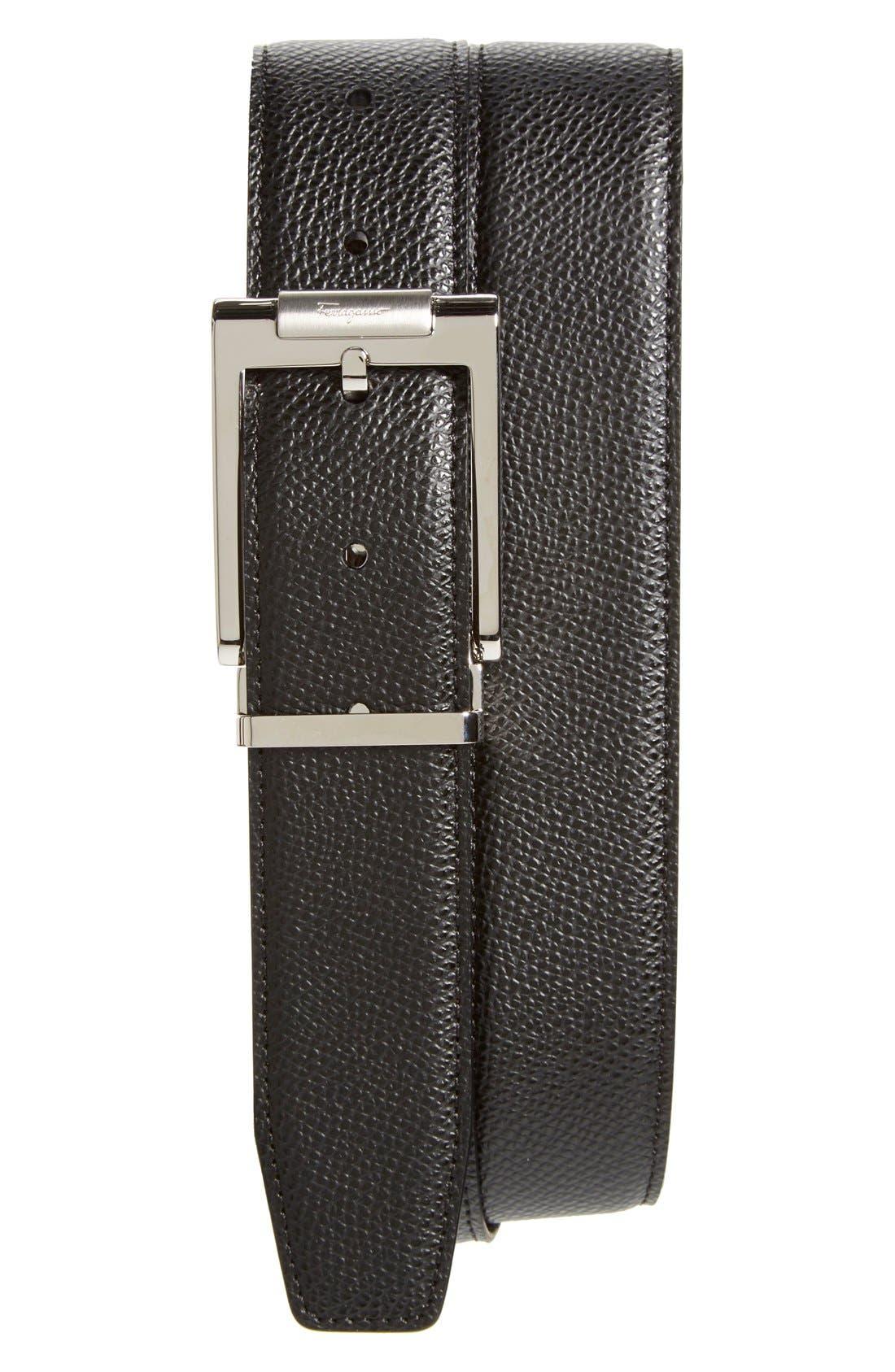 Alternate Image 1 Selected - Salvatore Ferragamo Reversible Pebbled Leather Belt