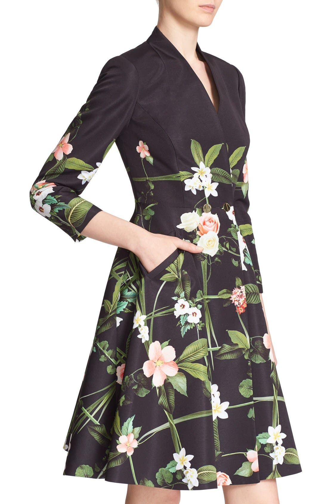 Alternate Image 4  - Ted Baker London 'Giova' Floral Print Fit & Flare Coat