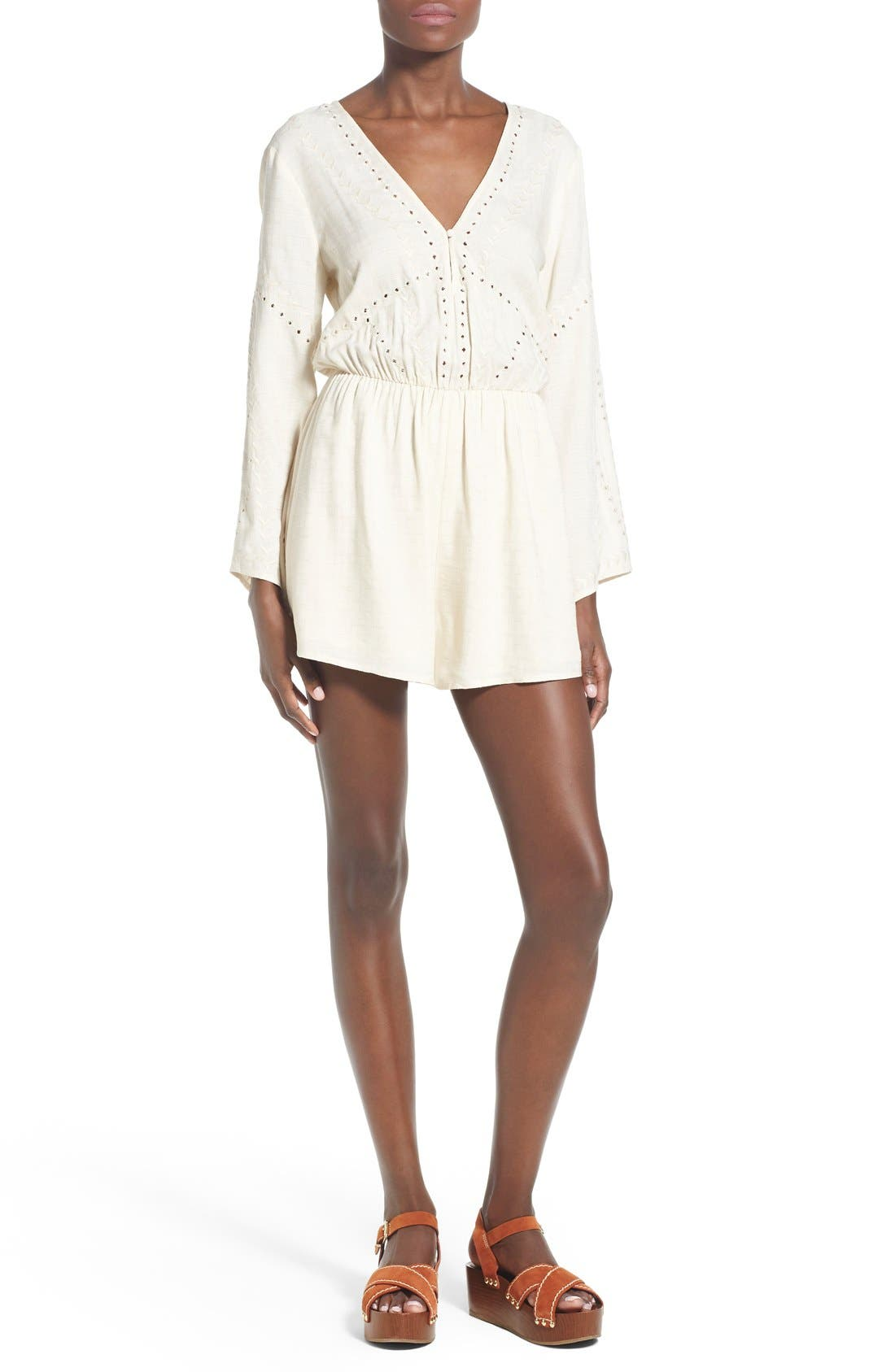 Main Image - ASTR Embroidered Bell Sleeve Romper