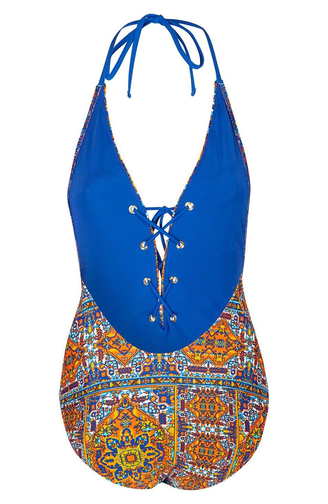 Alternate Image 2  - Topshop 'Festival Tile' Lace-Up Halter Swimsuit