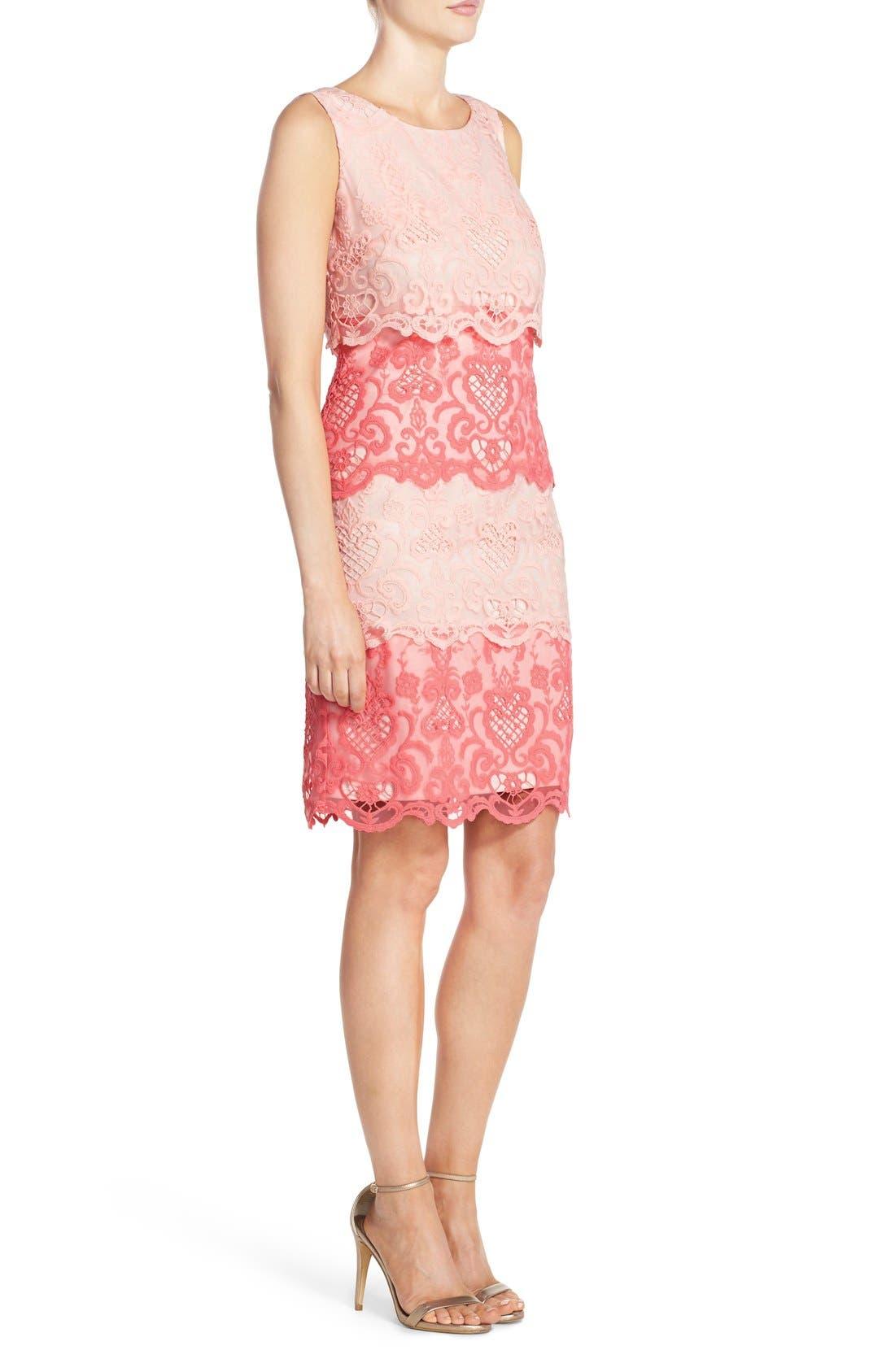 Alternate Image 3  - Chetta B Tiered Lace Sheath Dress