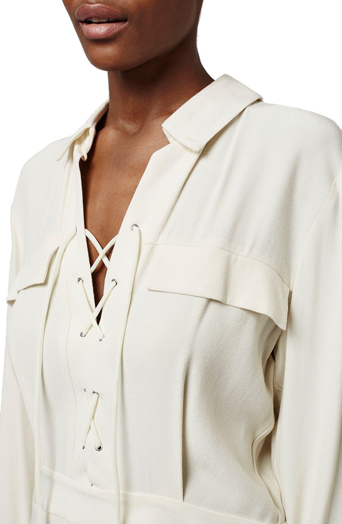 Alternate Image 3  - Topshop Lace-Up Long Sleeve Romper