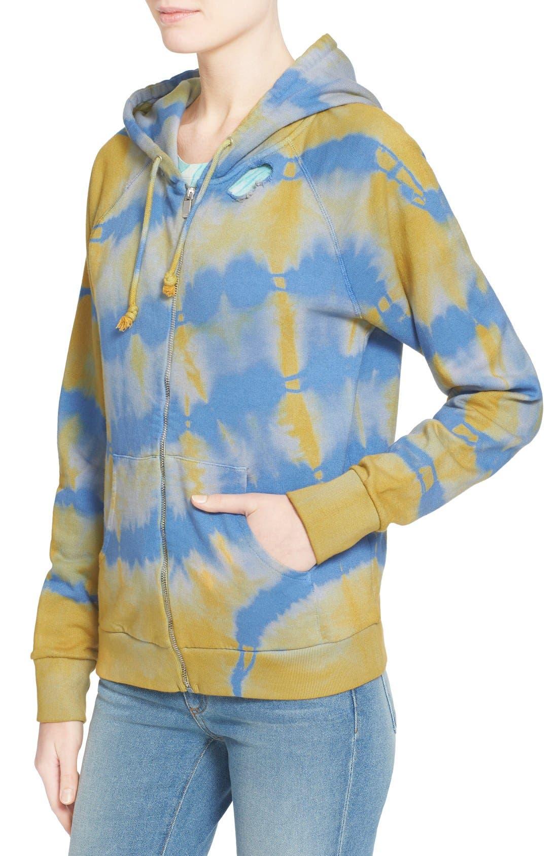Alternate Image 6  - Saint Laurent Destroyed Tie Dye Cotton Hoodie