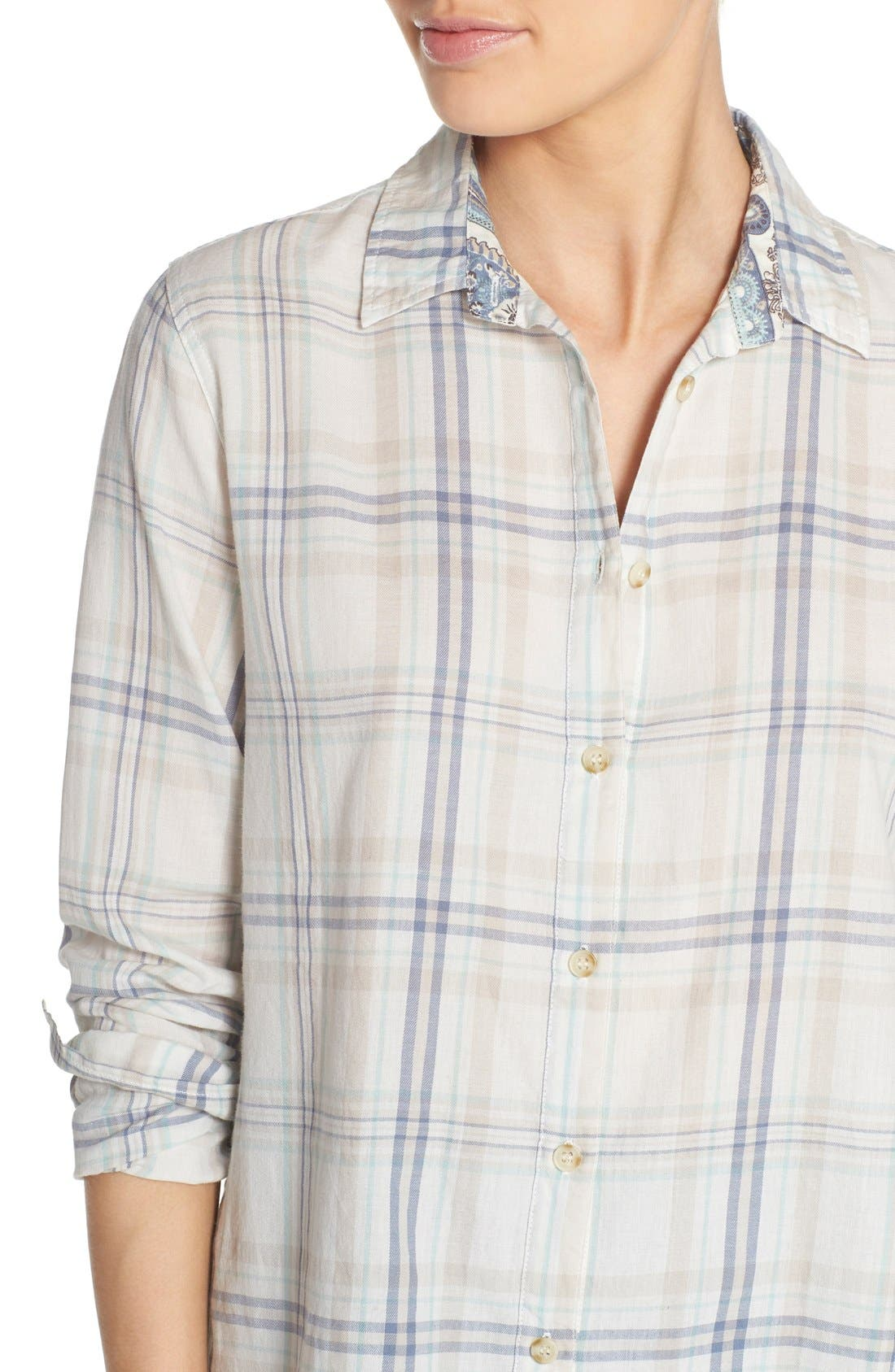 Alternate Image 4  - PJ Salvage Plaid Cotton Twill Shirt