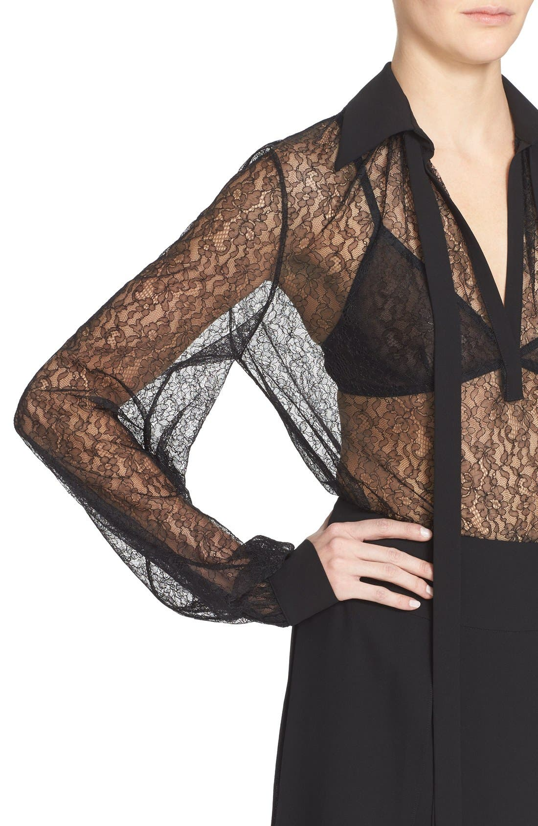 Alternate Image 7  - Michael Kors Tie Neck Chantilly Lace Blouse