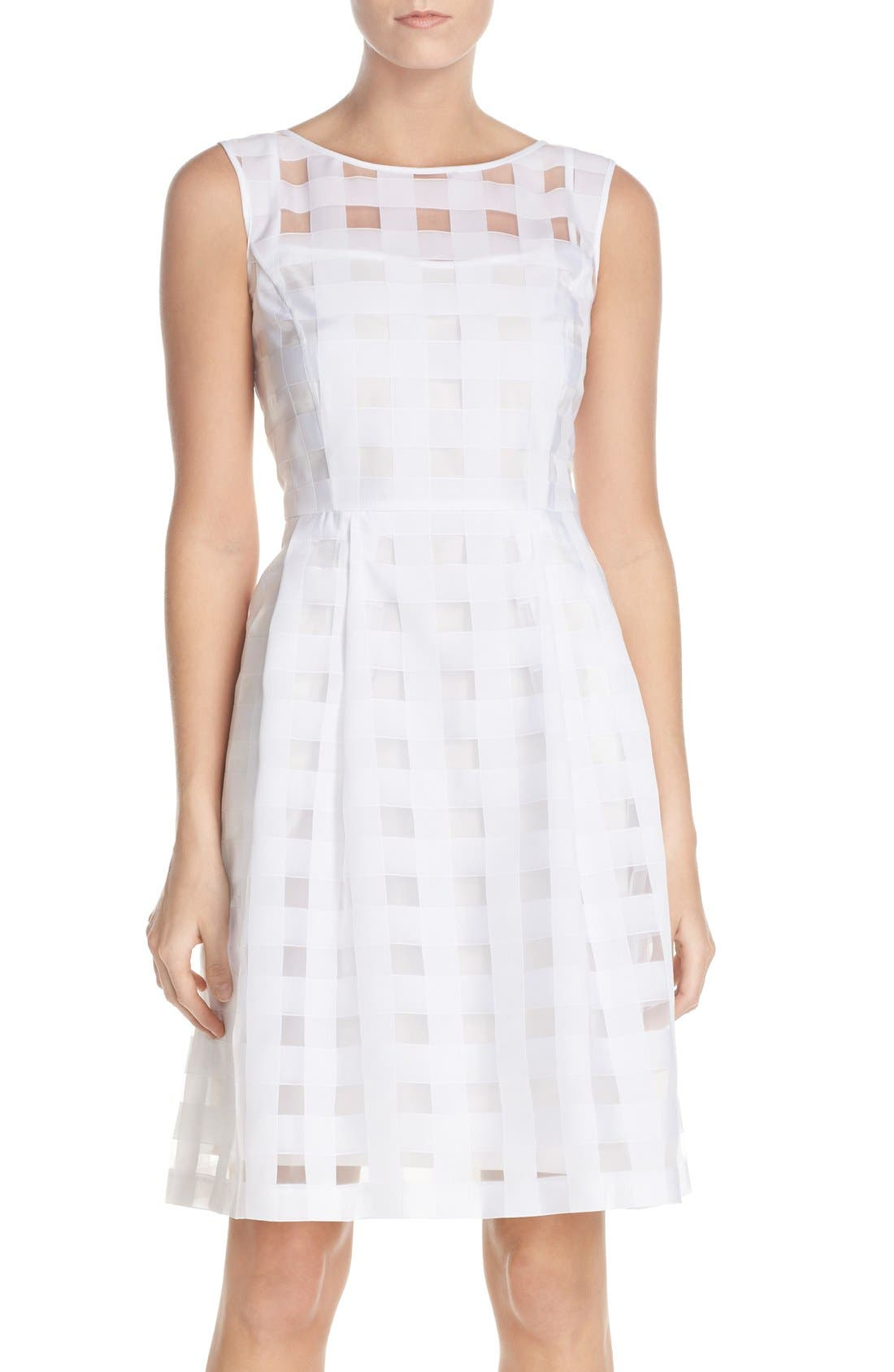ELLEN TRACY Windowpane Check Fit & Flare Dress