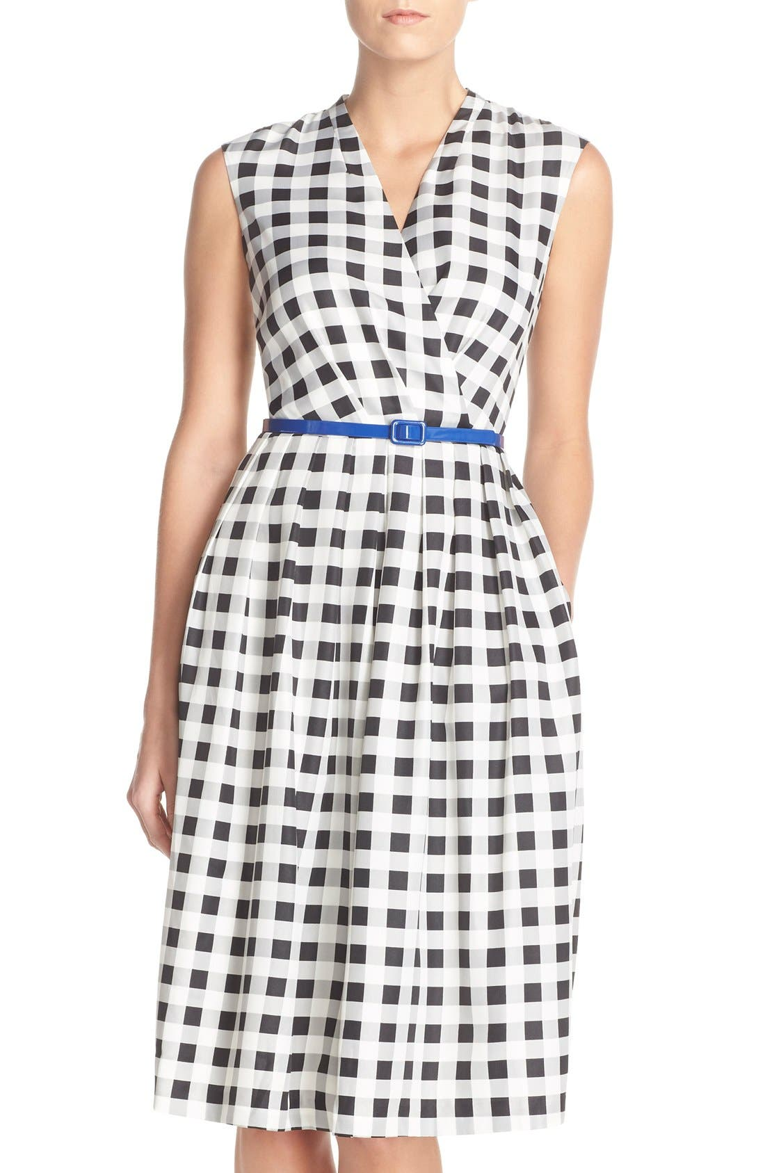 Alternate Image 1 Selected - Ellen Tracy Gingham Twill Fit & Flare Dress (Regular & Petite)