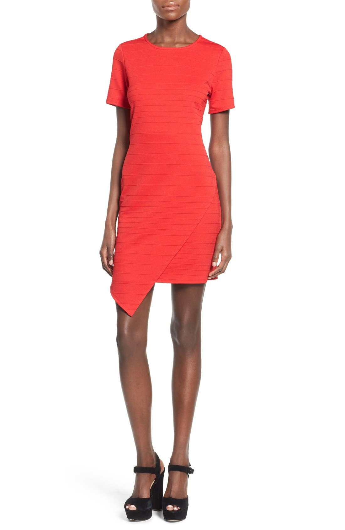 Alternate Image 1 Selected - June & Hudson Short Sleeve Asymmetrical Wrap Front Dress