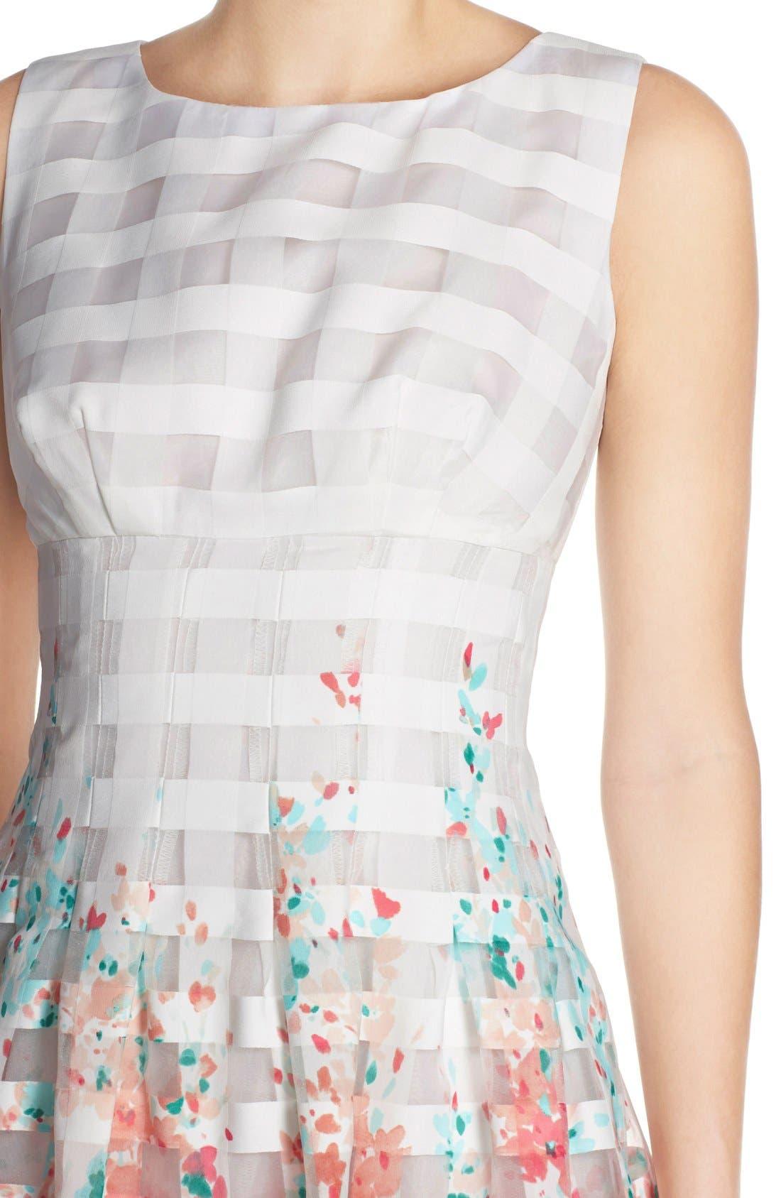 Alternate Image 5  - Chetta B Floral Organza Fit & Flare Dress