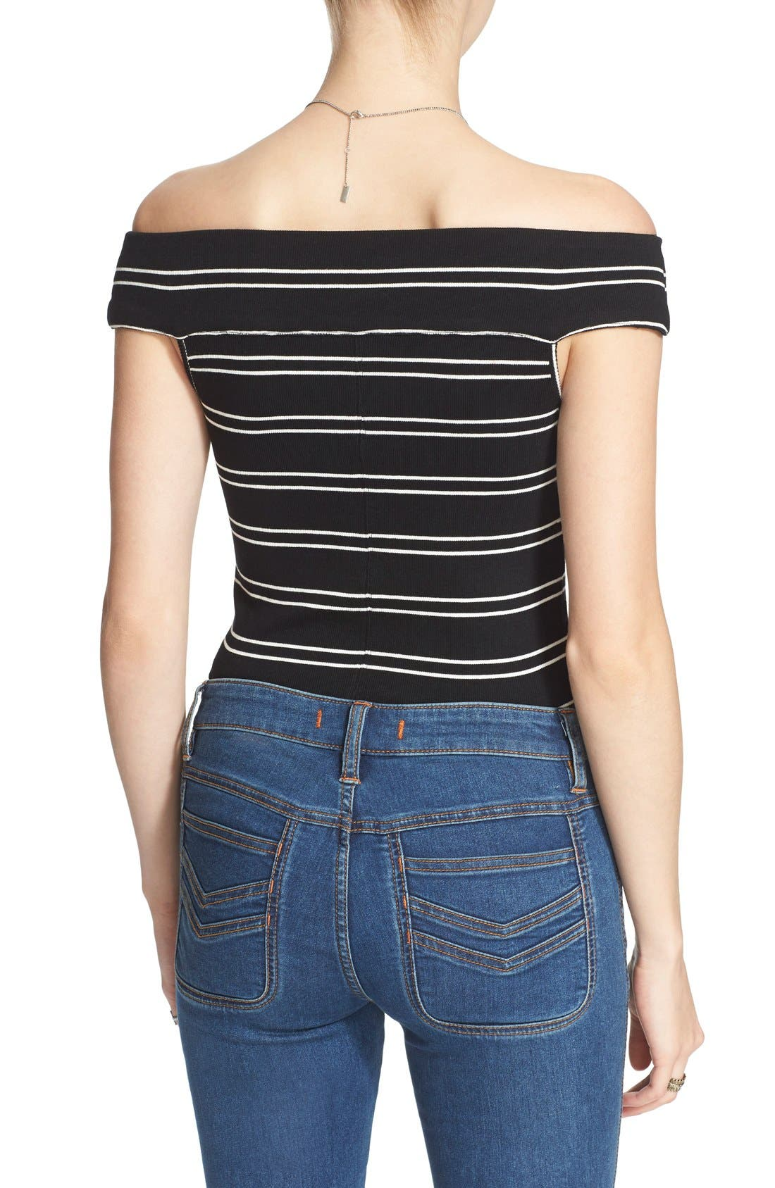 Alternate Image 2  - Free People 'Yacht Club' Stripe Off the Shoulder Tee