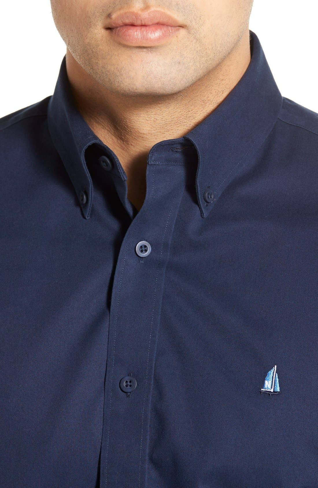 Alternate Image 4  - Nordstrom Men's Shop Smartcare™ Traditional Fit Twill Boat Shirt (Regular & Tall)