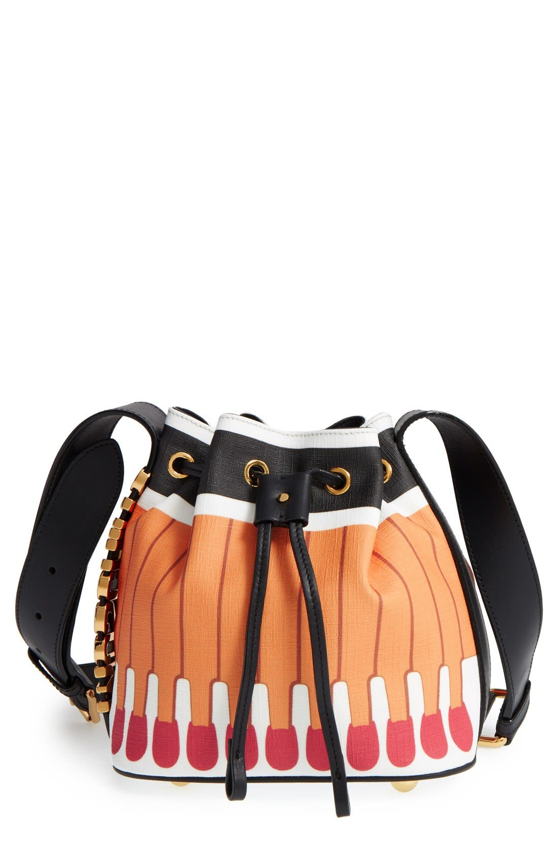 MOSCHINO 'It's Lit Matchbook' Bucket Bag