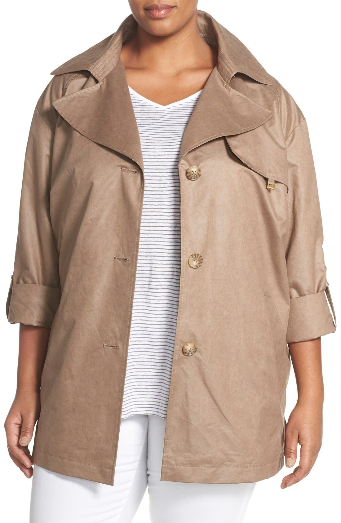 Ellen Tracy Roll Sleeve Trench Coat (Plus Size)