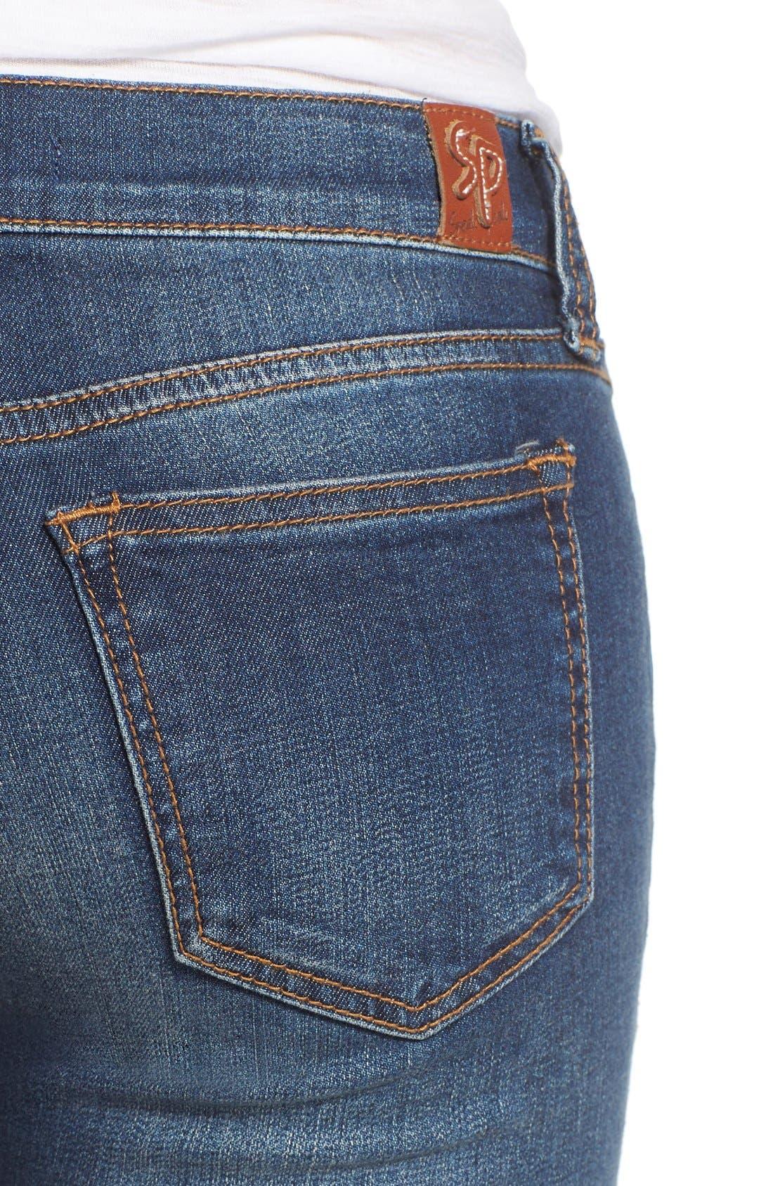 Alternate Image 4  - SP Black Distressed Raw Hem Skinny Jeans