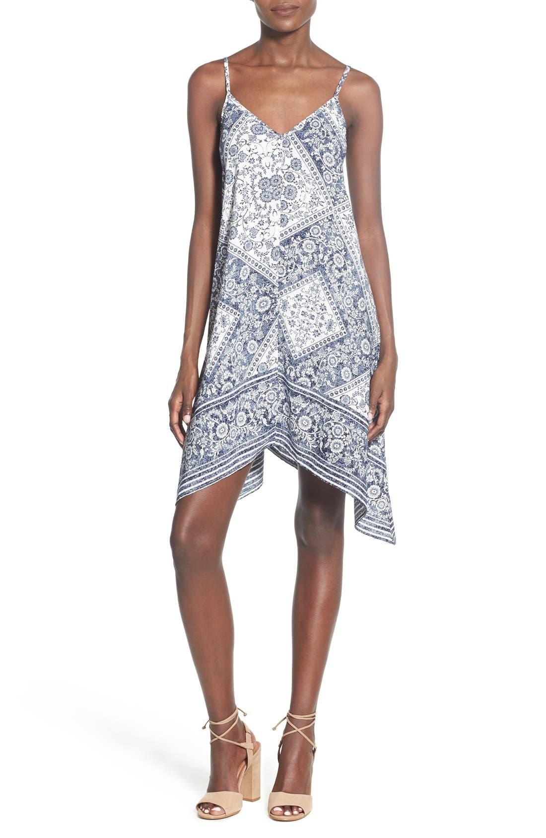 Main Image - Trixxi Bandana Print Handkerchief Hem Dress