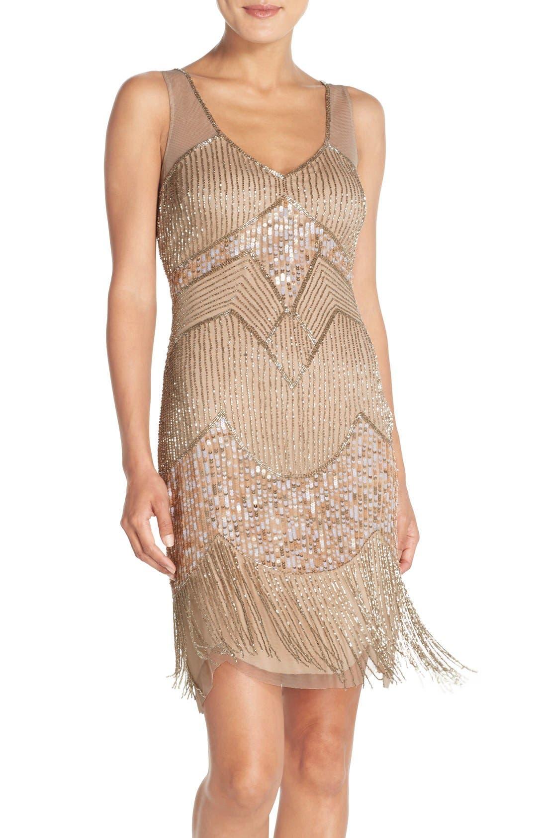 Alternate Image 1 Selected - Adrianna Papell Embellished Mesh Sheath Dress