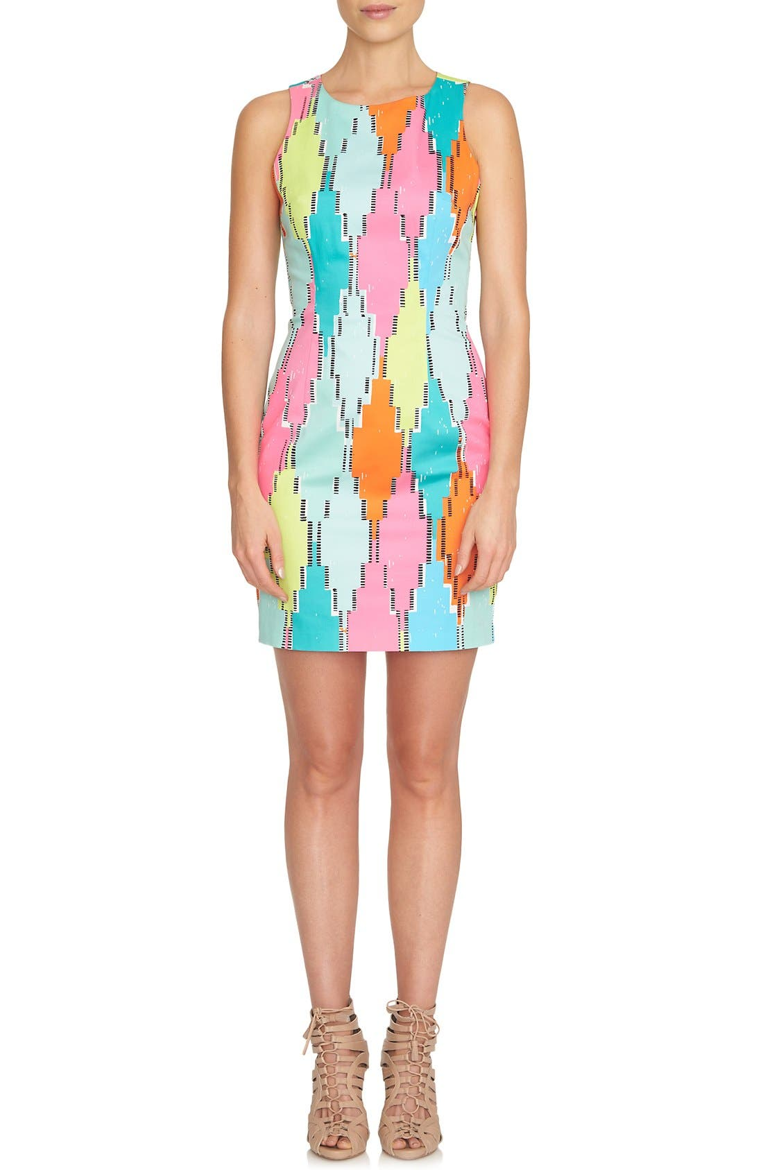 Alternate Image 1 Selected - CeCe 'Diamond Blocks' Cutout Sheath Dress