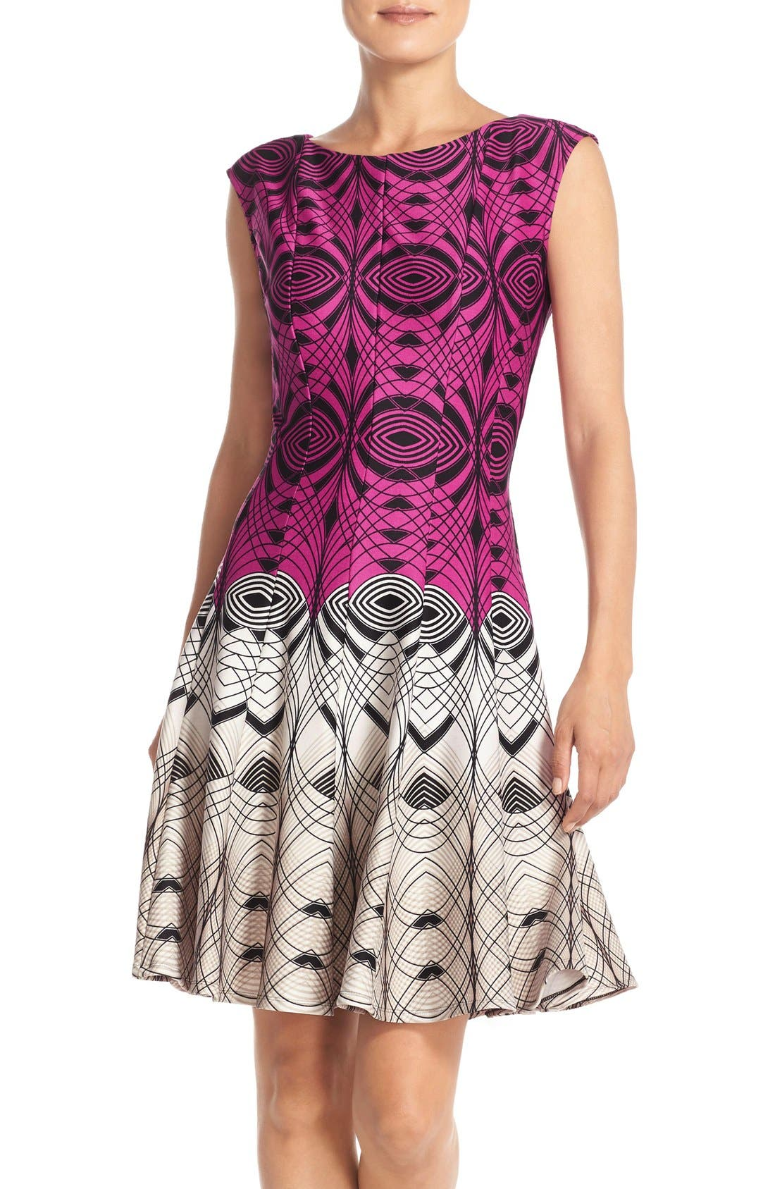 Main Image - Gabby Skye Colorblock Print Scuba Fit & Flare Dress