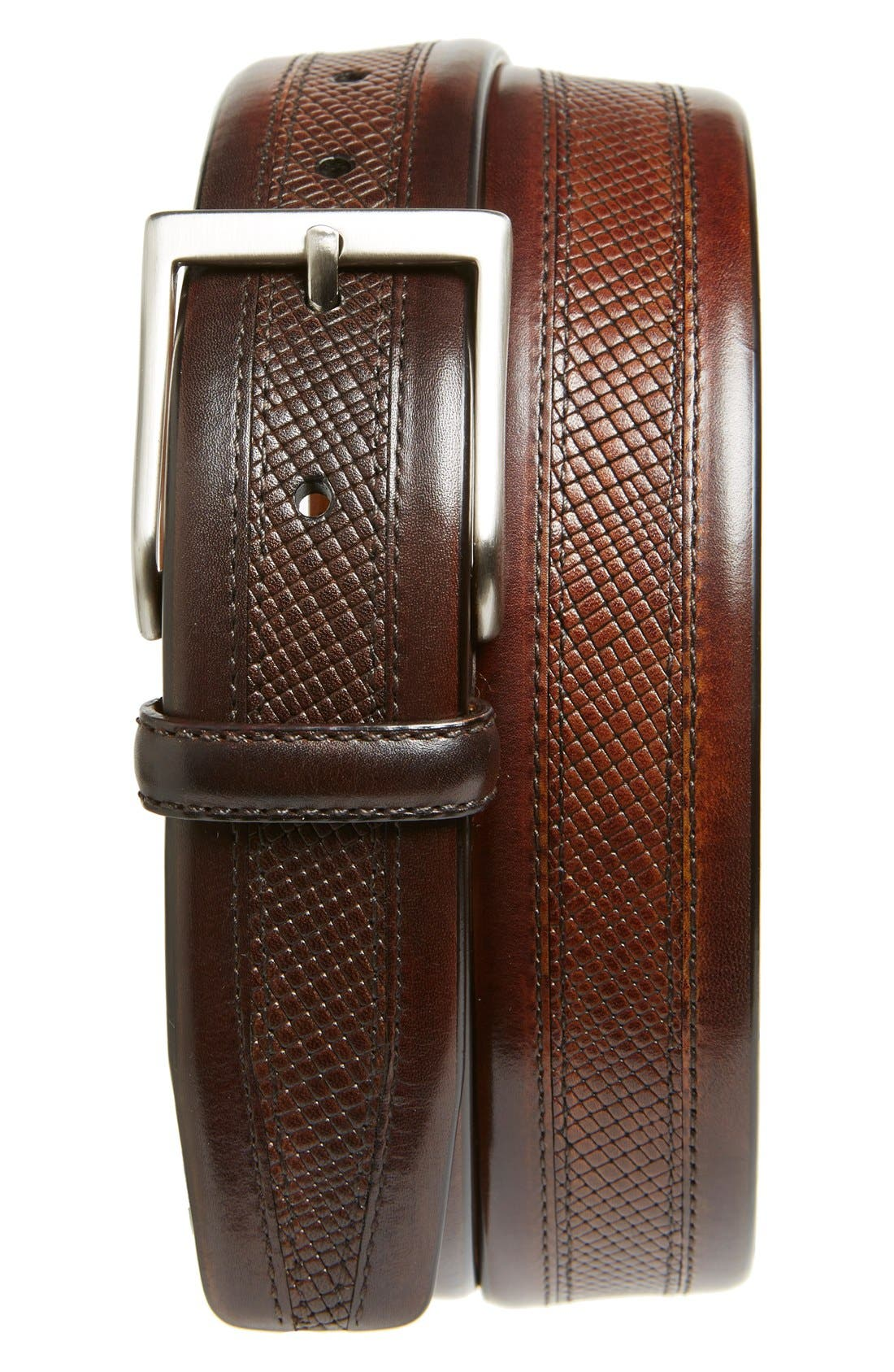 MAGNANNI 'Wellington' Textured Leather Belt