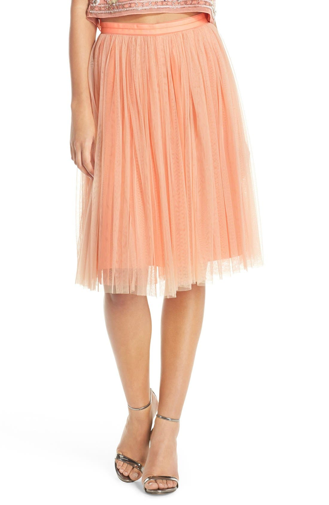 Main Image - Needle & Thread Tulle Midi Skirt