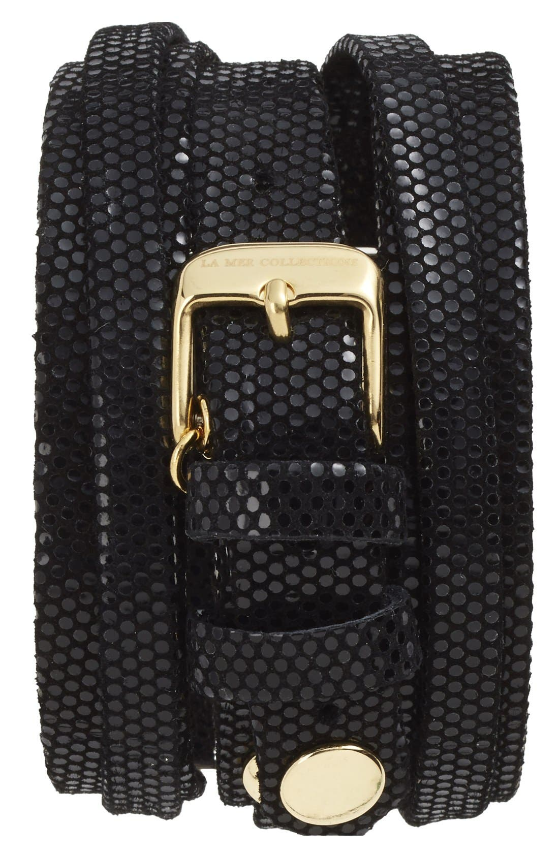 Alternate Image 2  - La Mer Collections Leather Strap Wrap Watch, 28mm