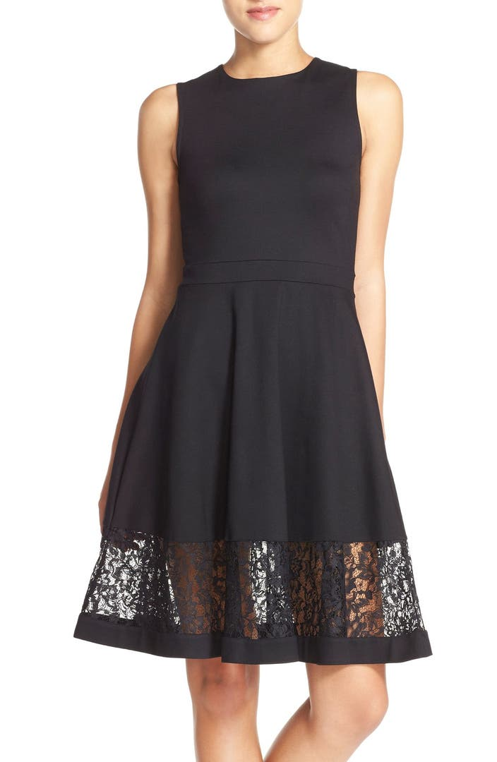 French Connection Lace Panel Fit Amp Flare Dress Nordstrom
